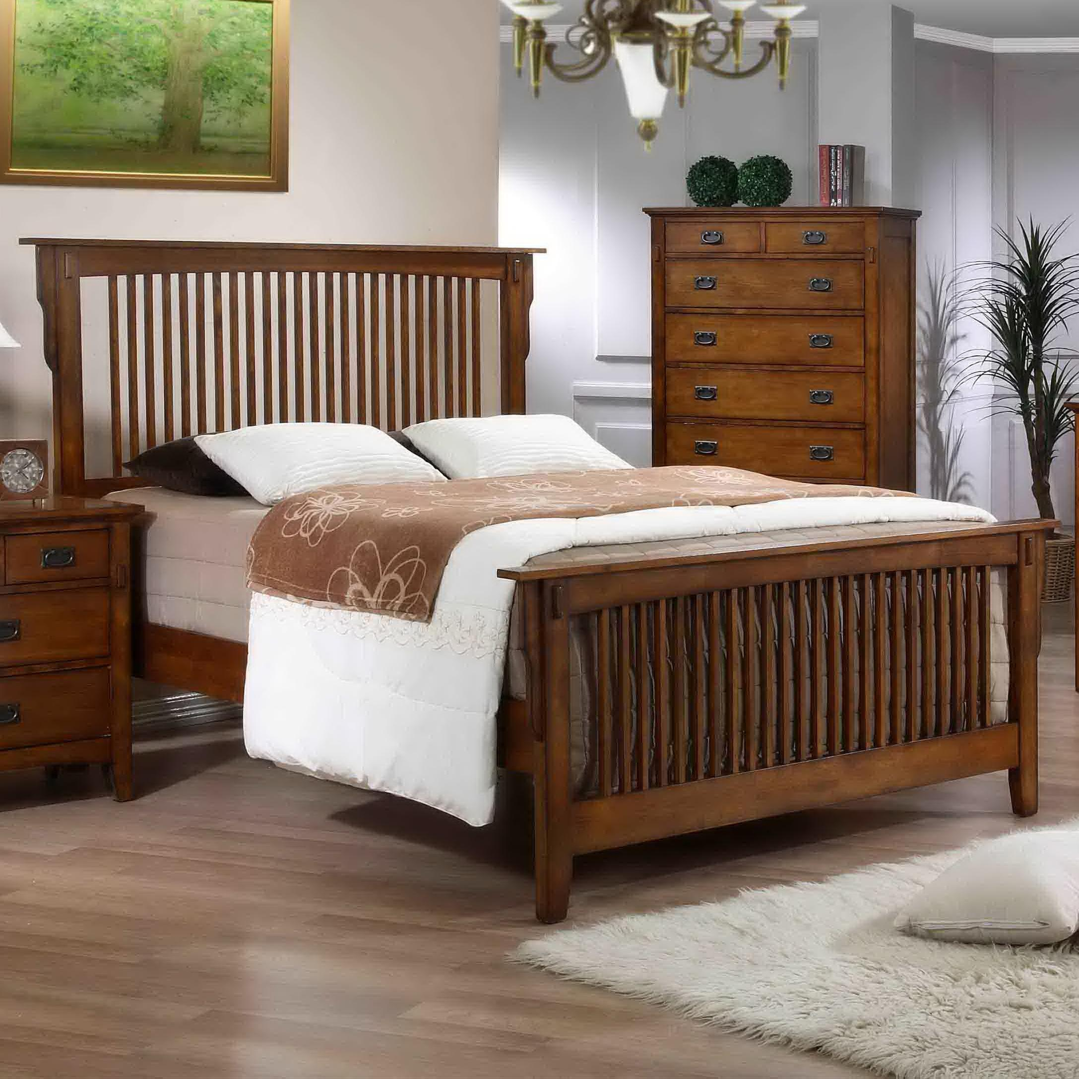 Elements International Trudy Tr750qb Qr Mission Style Queen Bed With Slat Headboard And