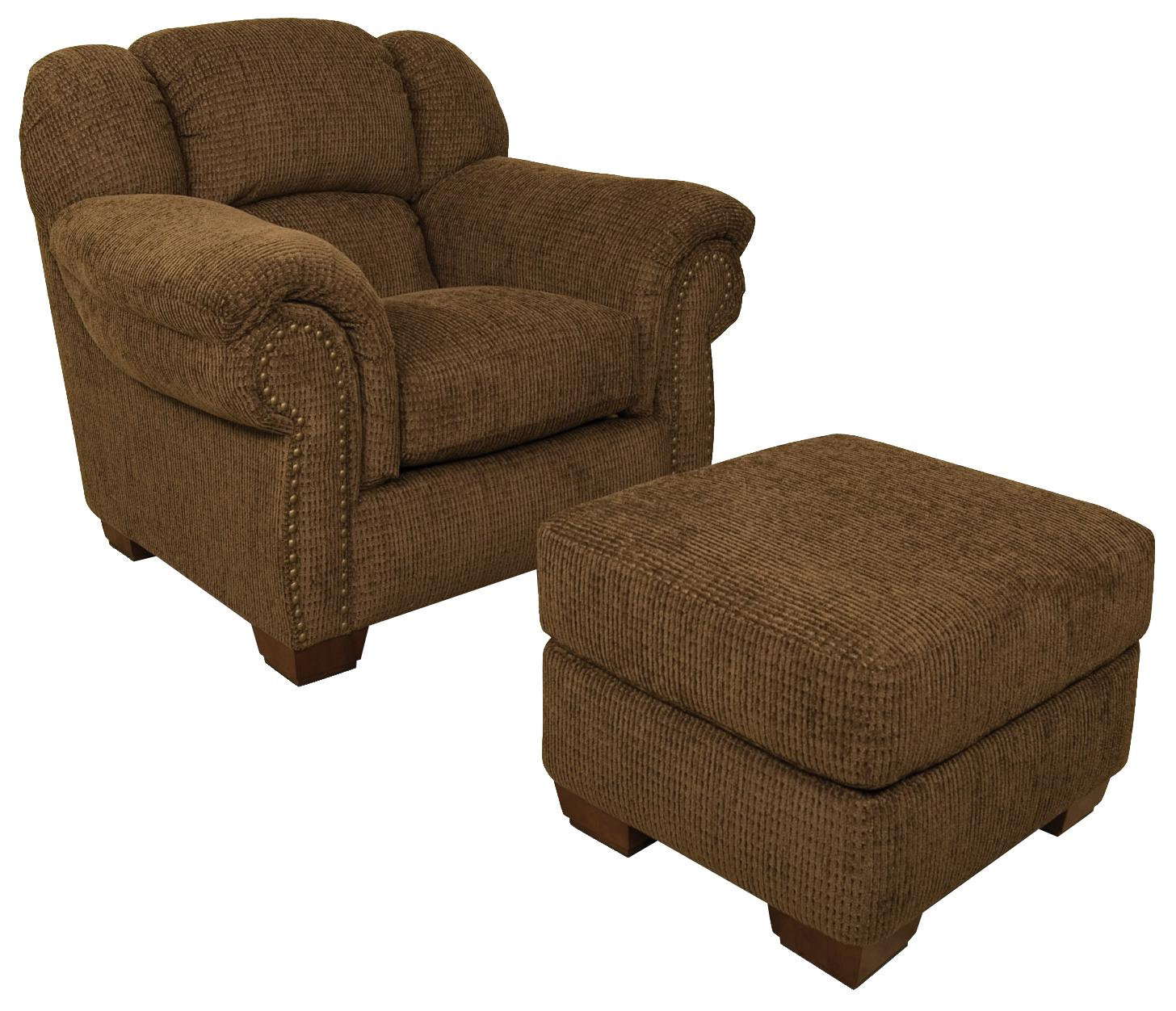 England Bryce Overstuffed Chair With Brass Tacks and