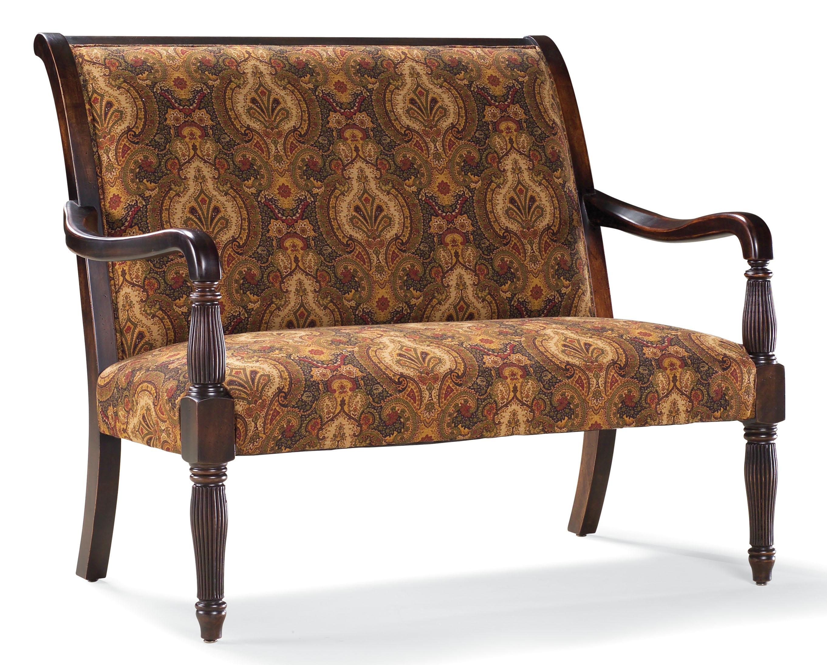 Fairfield sofa accents traditional stationary settee with for Timber frame accents