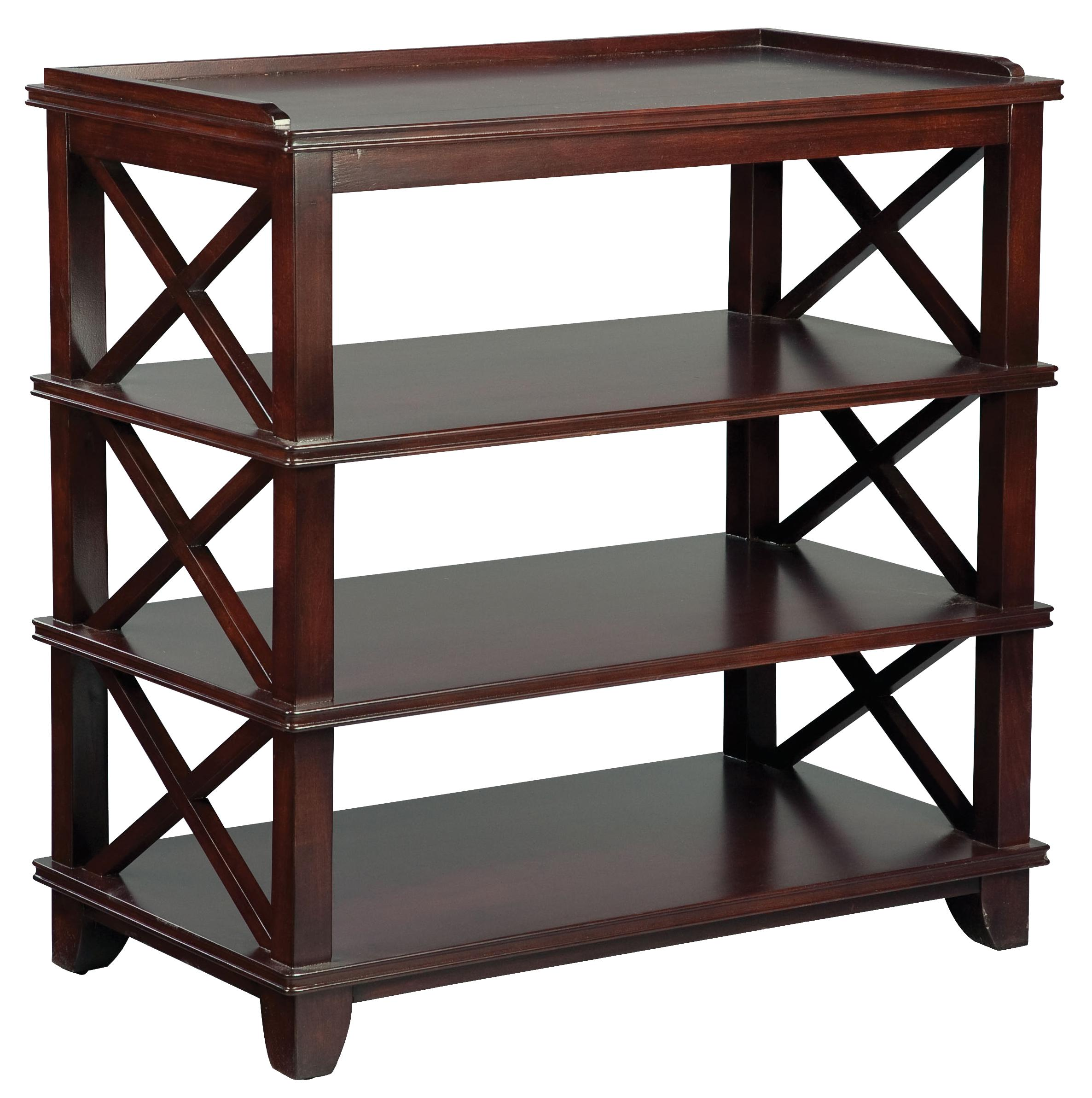 Fairfield tables casual dining room side table with open for Dining room tables with storage