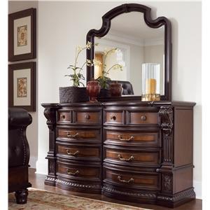 Fairmont designs grand estates entertainment center w 2 glass cabinet doors royal furniture for Fairmont designs grand estates bedroom