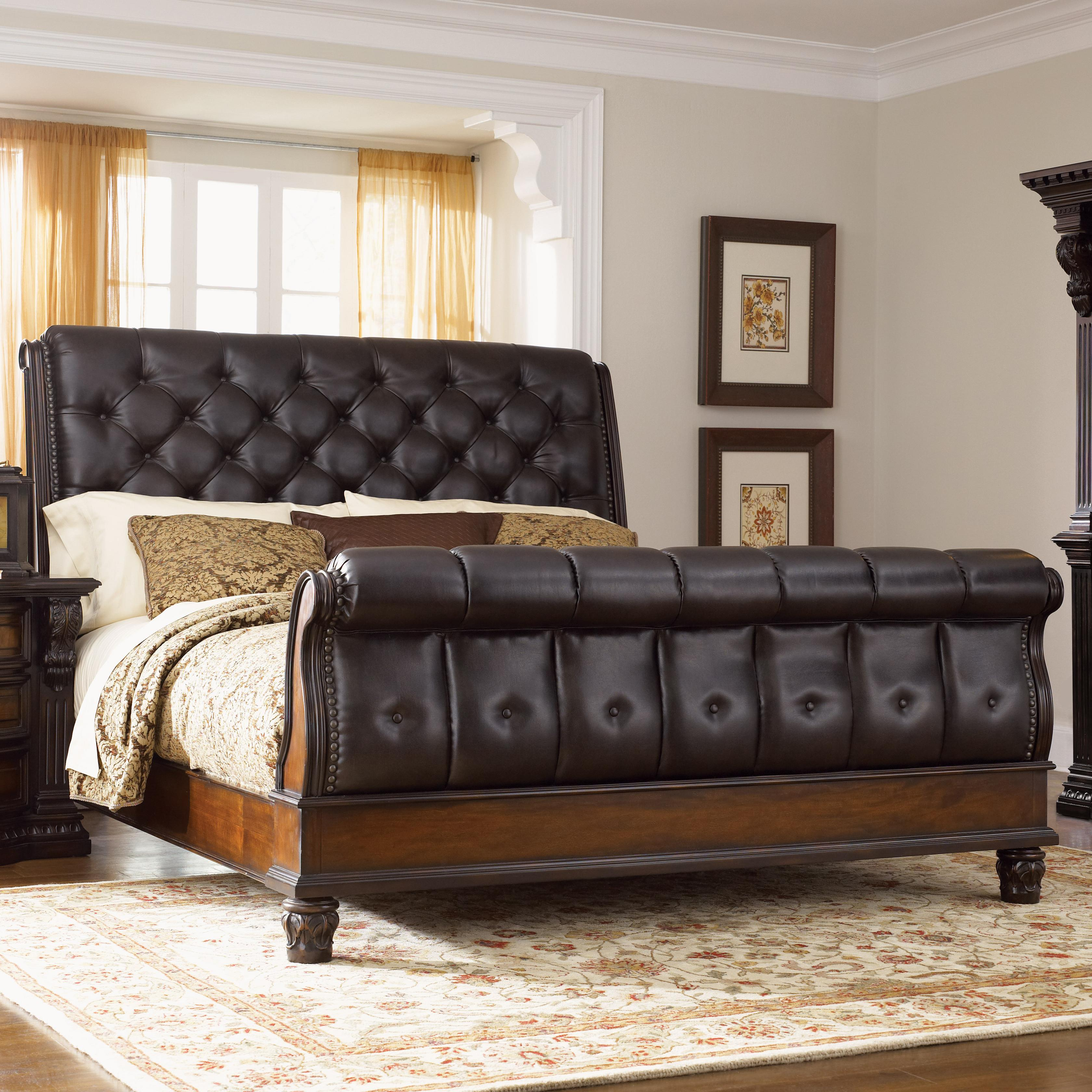 fairmont designs grand estates queen sleigh bed w leather upholstery royal furniture sleigh. Black Bedroom Furniture Sets. Home Design Ideas