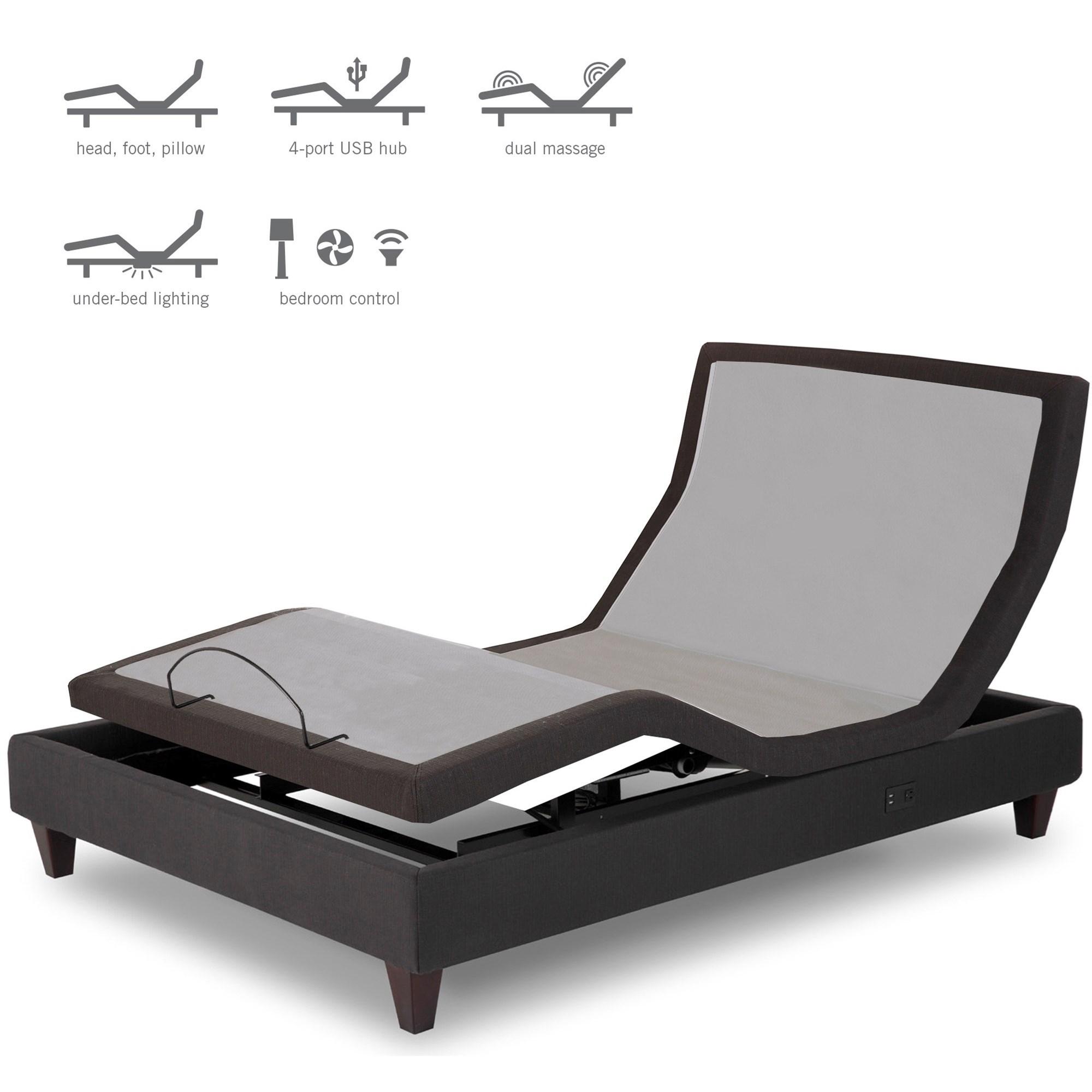 fashion bed group premier series full extra long adjustable base with upholstered frame. Black Bedroom Furniture Sets. Home Design Ideas