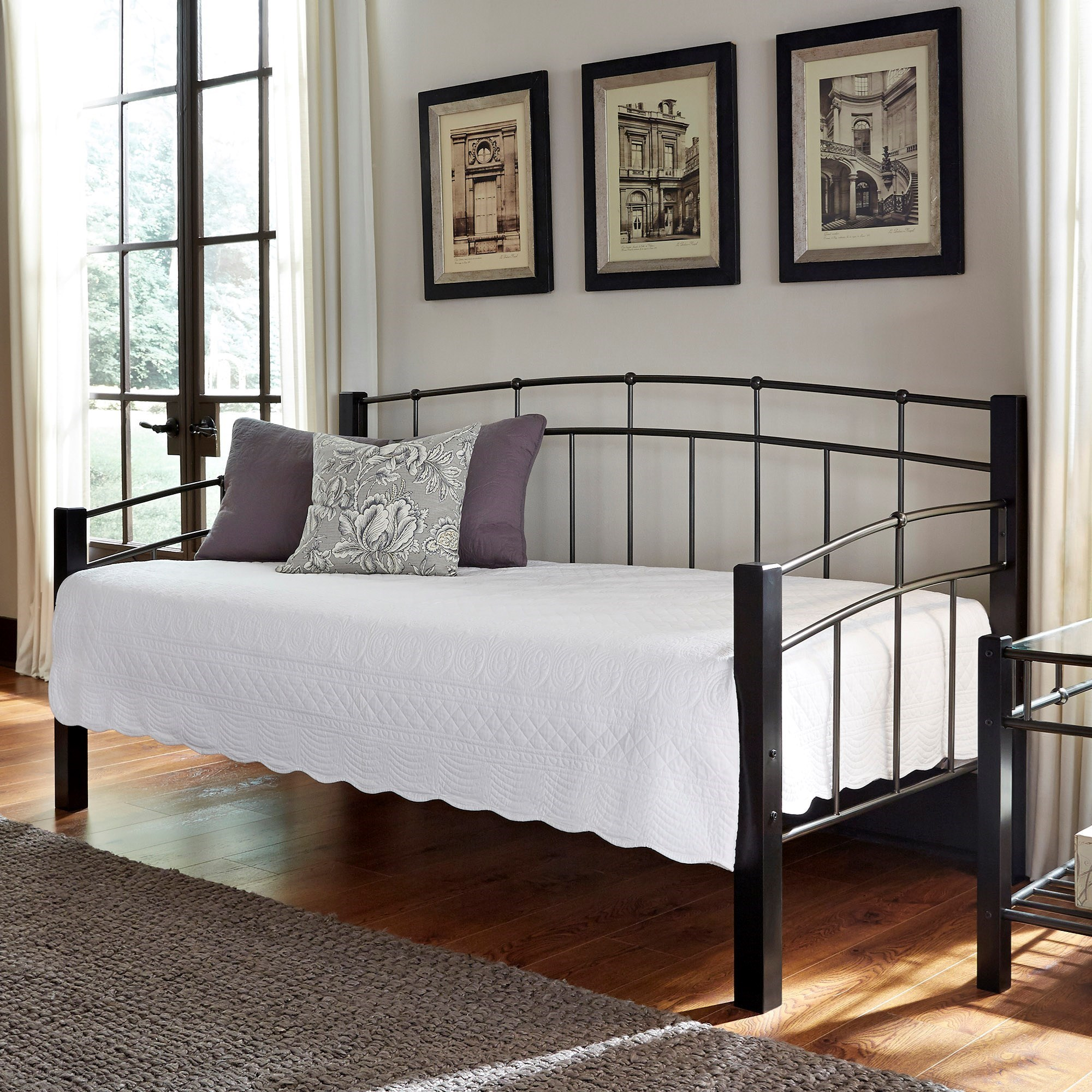Fashion Bed Group Scottsdale Twin Scottsdale Metal Daybed With Sloping Top Rails And Dark
