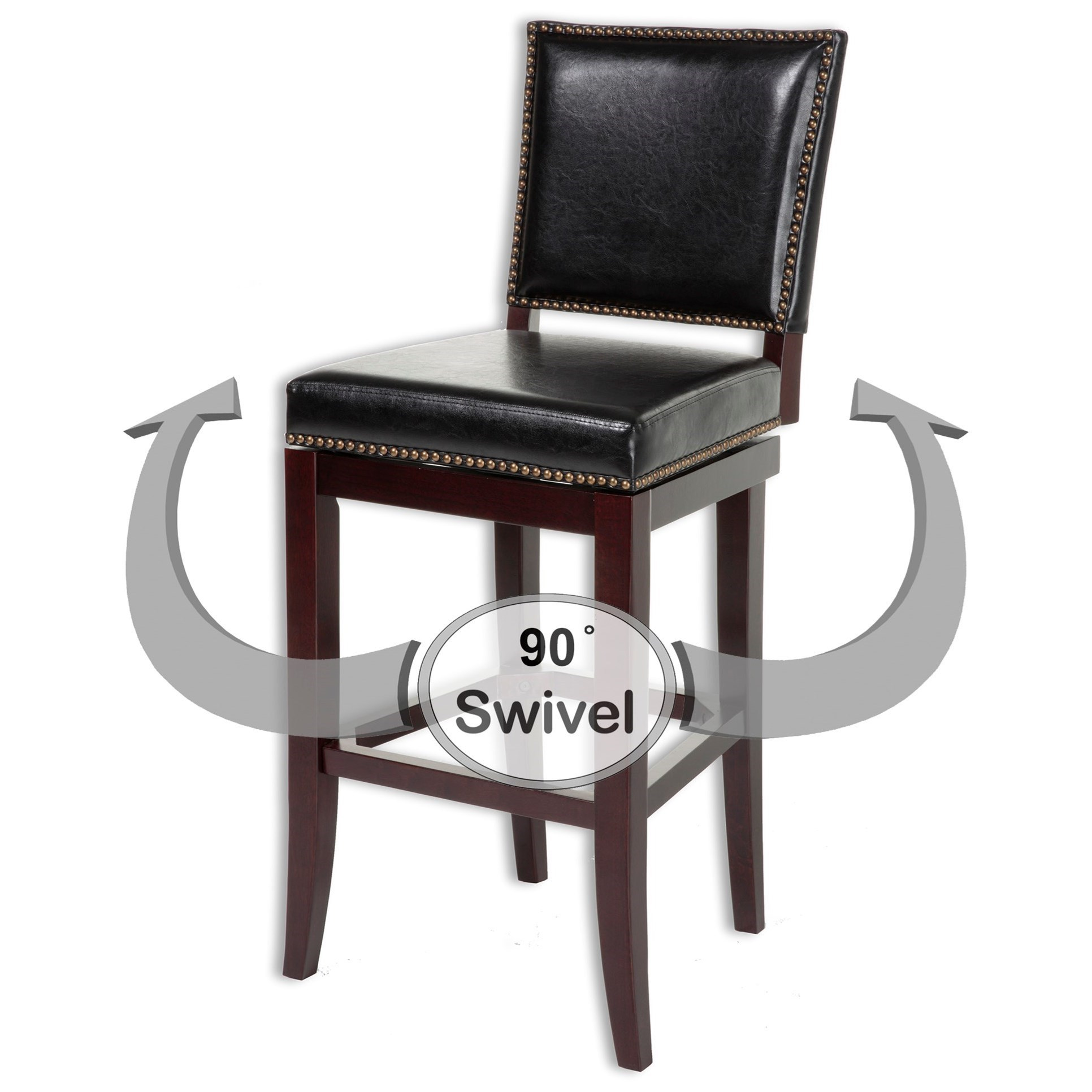 Fashion Bed Group Wood Barstools Sacramento Wood Counter Stool With Black Upholstered Nail Head