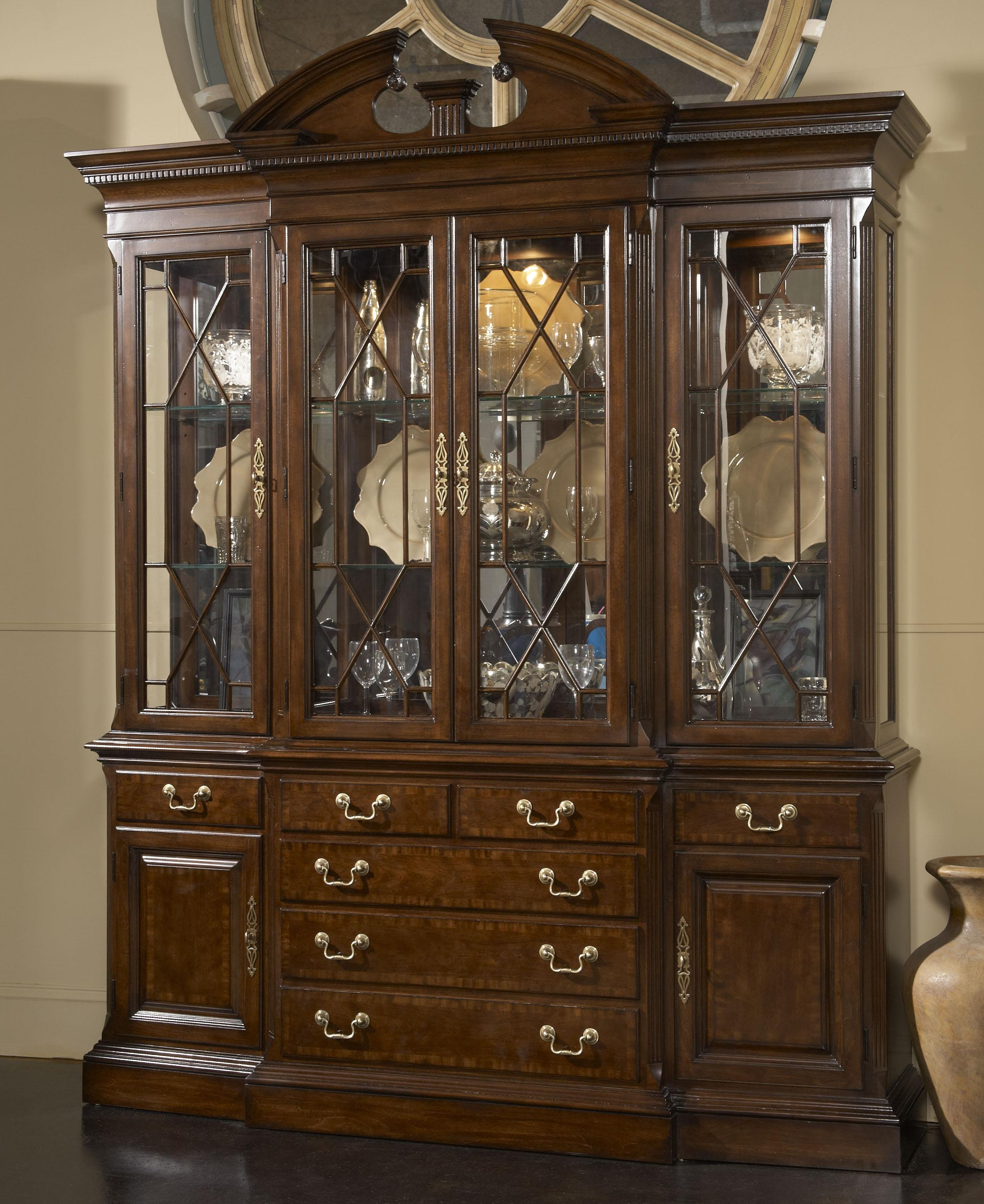 American cherry andover breakfront china cabinet with for China cabinet