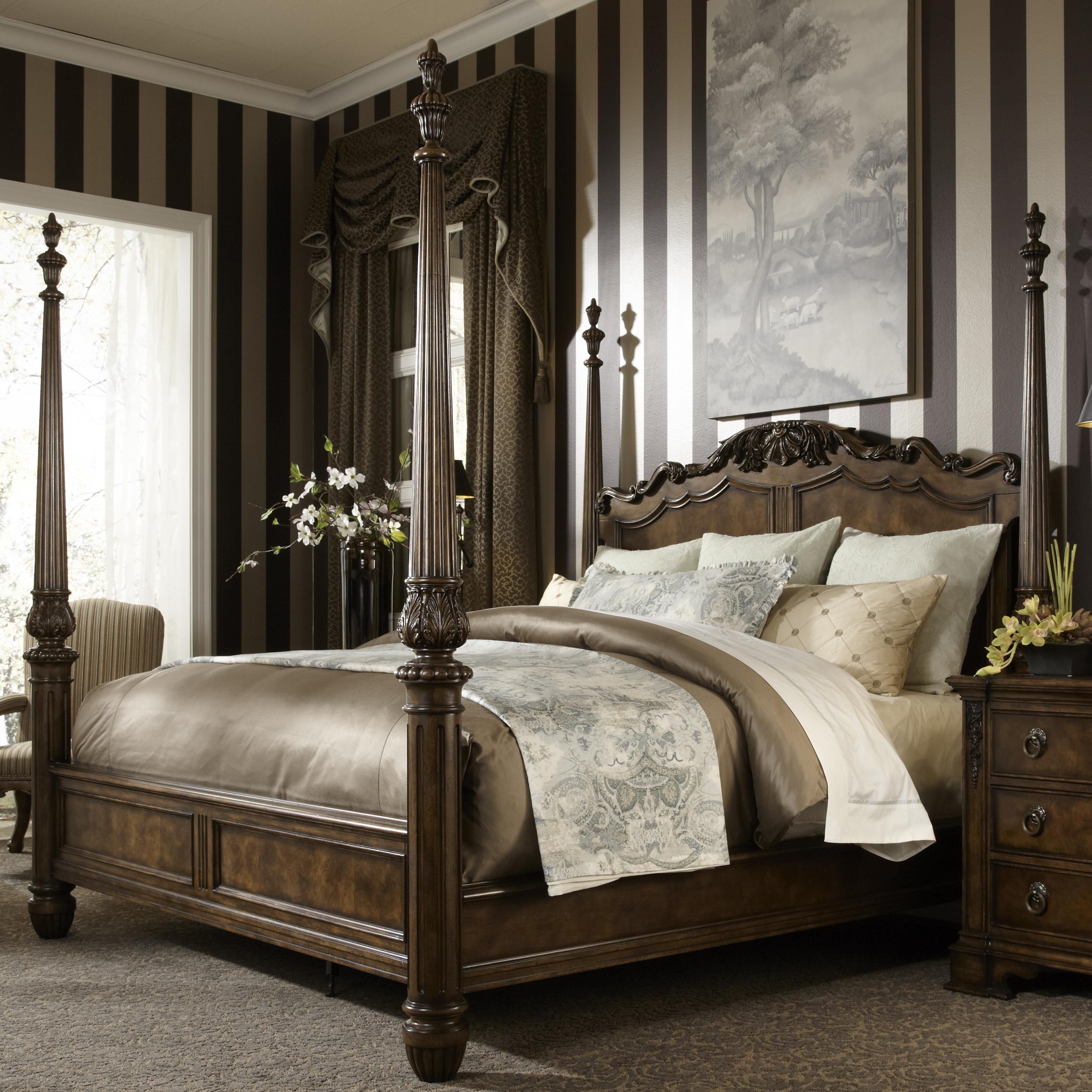 Fine furniture design belvedere king traditional antique style four poster bed jacksonville for King four poster bedroom sets
