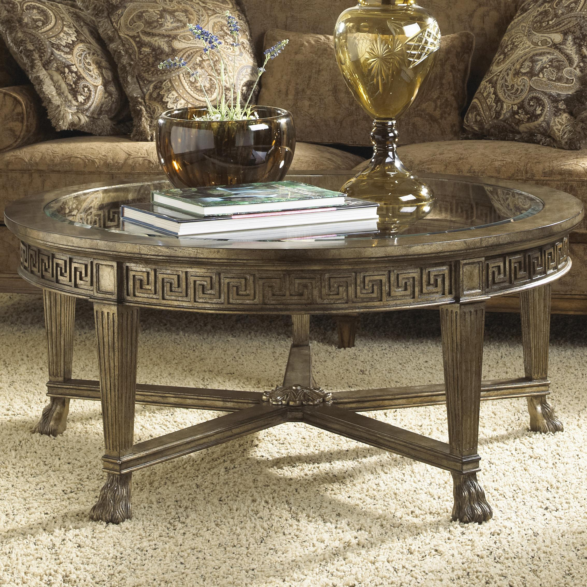 Grecian style round coffee table with glass top for Coffee tables york pa