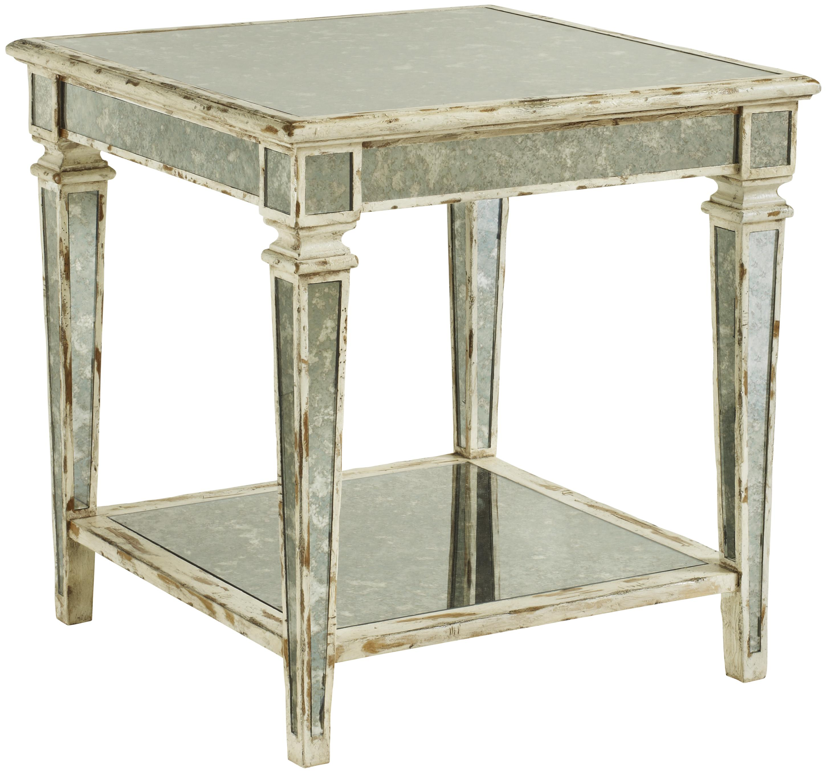 Cachet end table w antique mirror insert by fine for Coffee tables york pa
