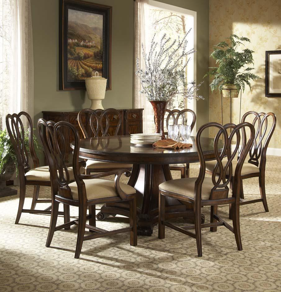 hyde park 7 piece round dining table and leather upholstered chairs by