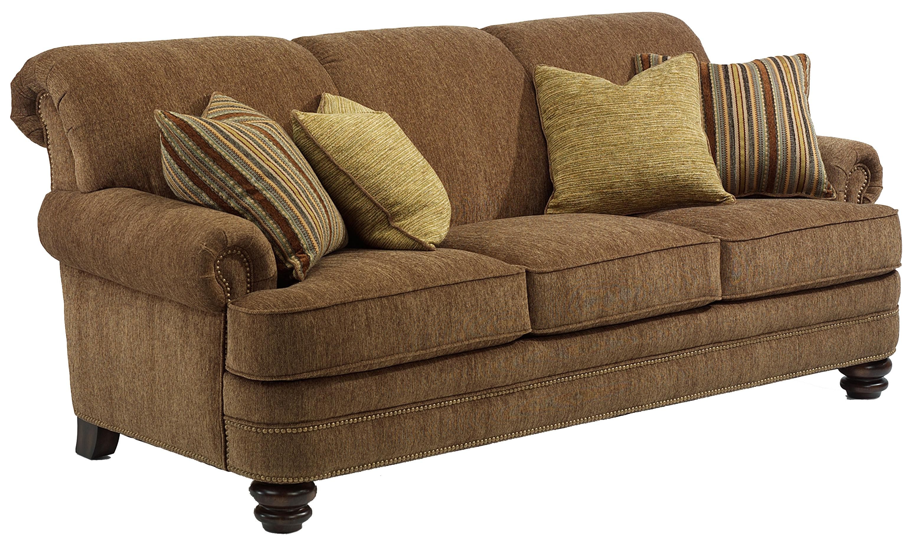 Flexsteel bay bridge traditional rolled back sofa olinde for Traditional sofas and loveseats