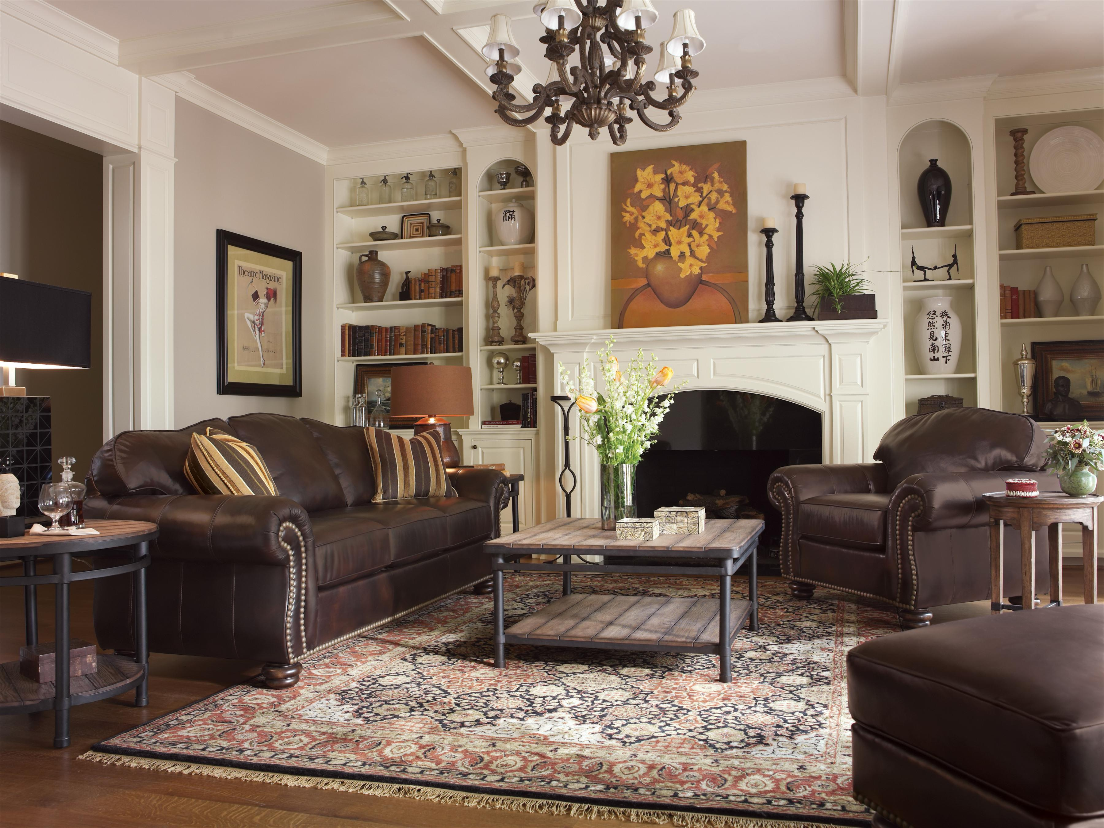 Flexsteel Bexley Traditional Chair And Ottoman With Nail
