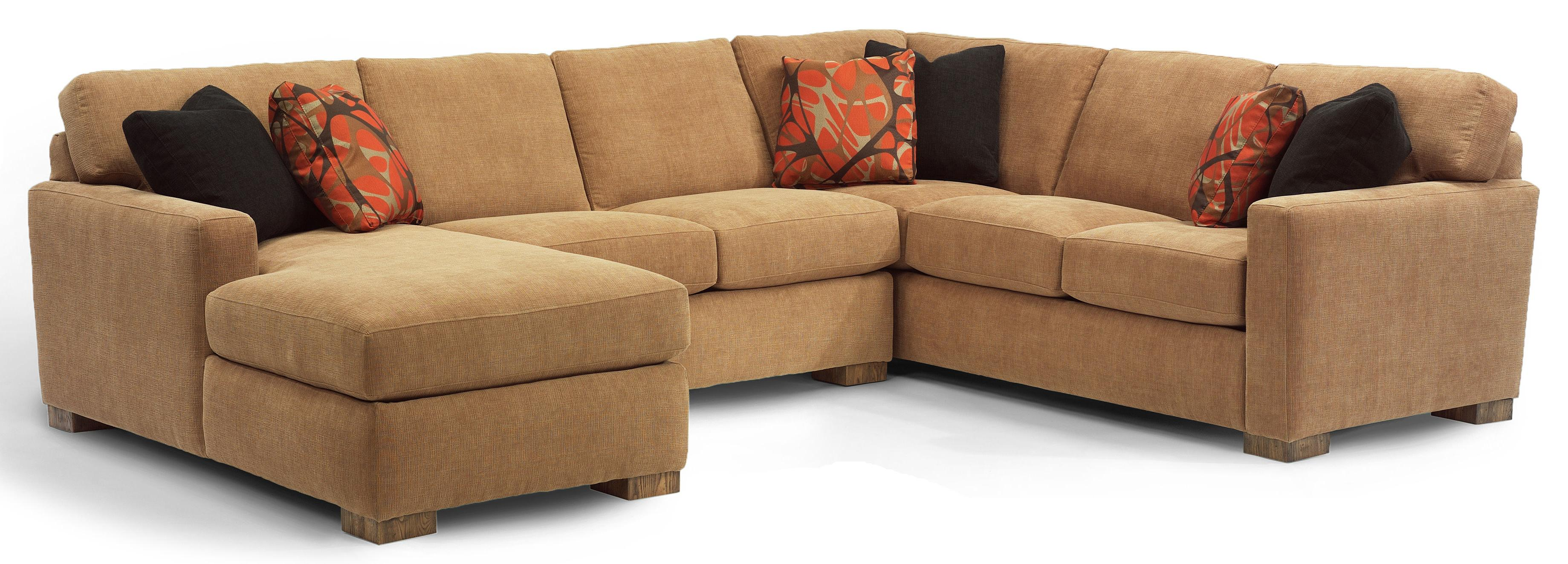 Flexsteel bryant contemporary 3 pc sectional sofa with for 3 pc sectional sofa with chaise