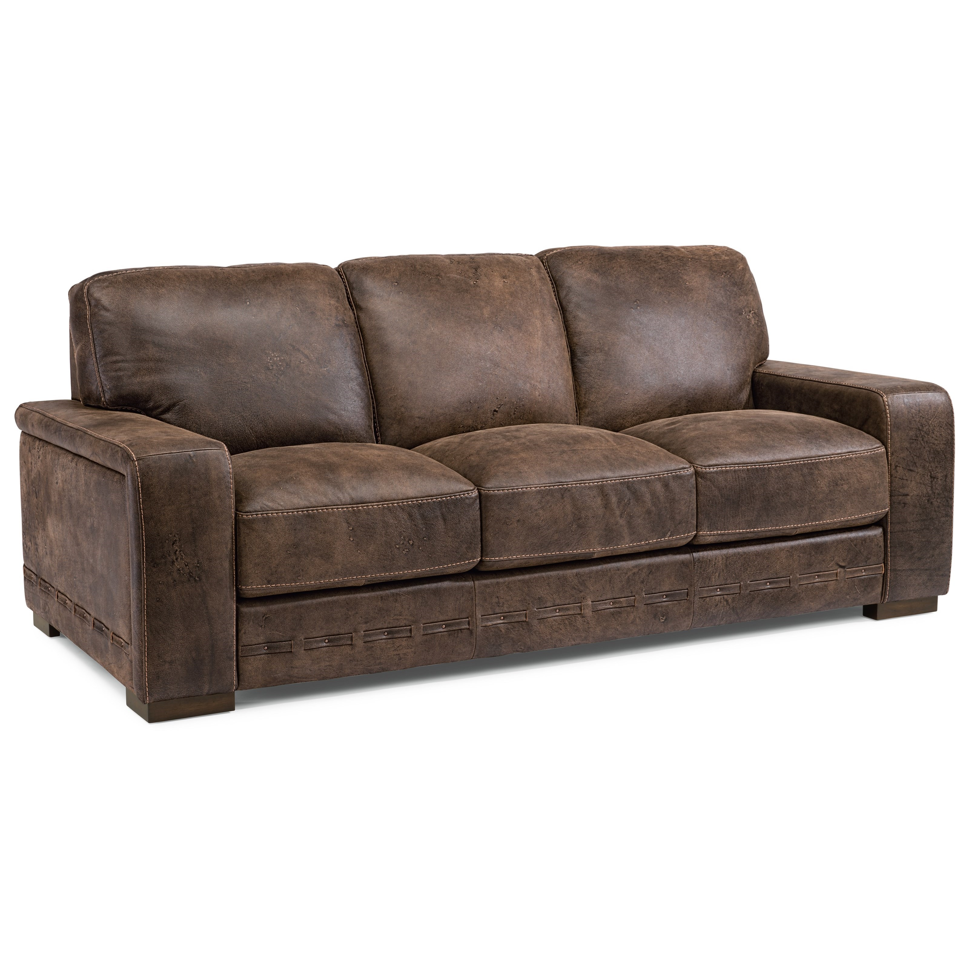 Flexsteel latitudes buxton contemporary leather sofa for Contemporary leather sofa