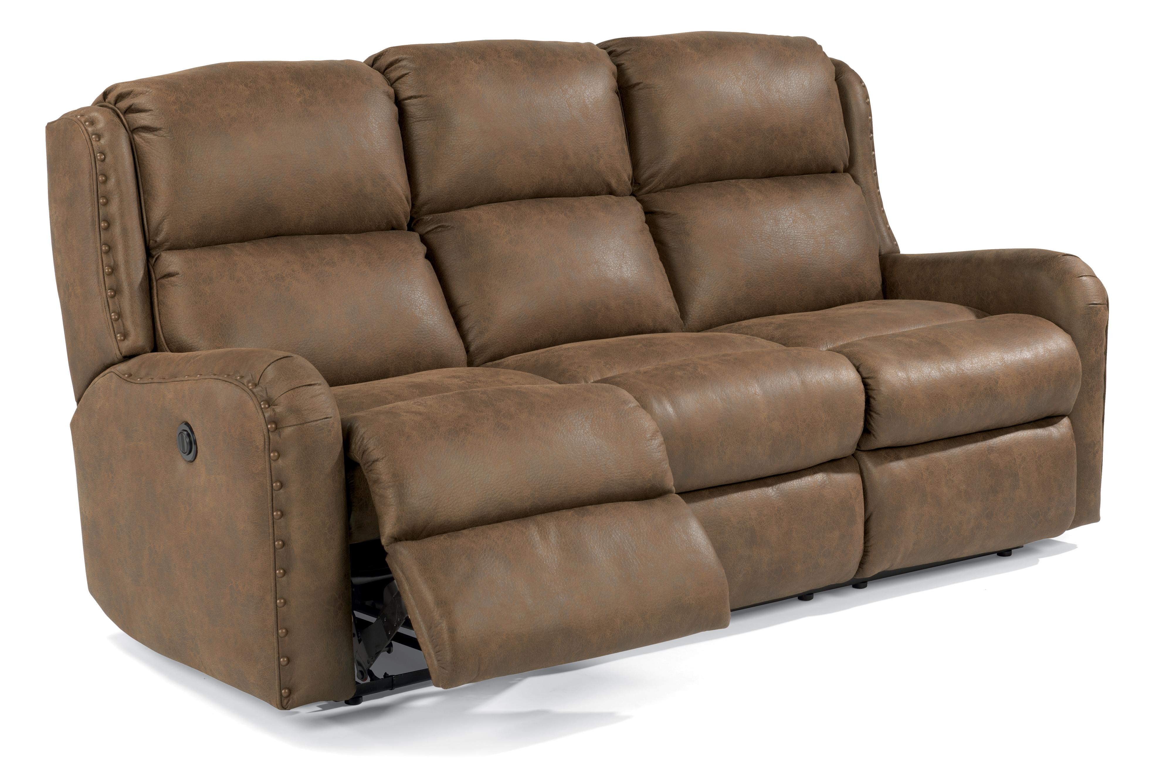 Flexsteel cameron rustic power reclining sofa with for Oversized reclining sectional sofa