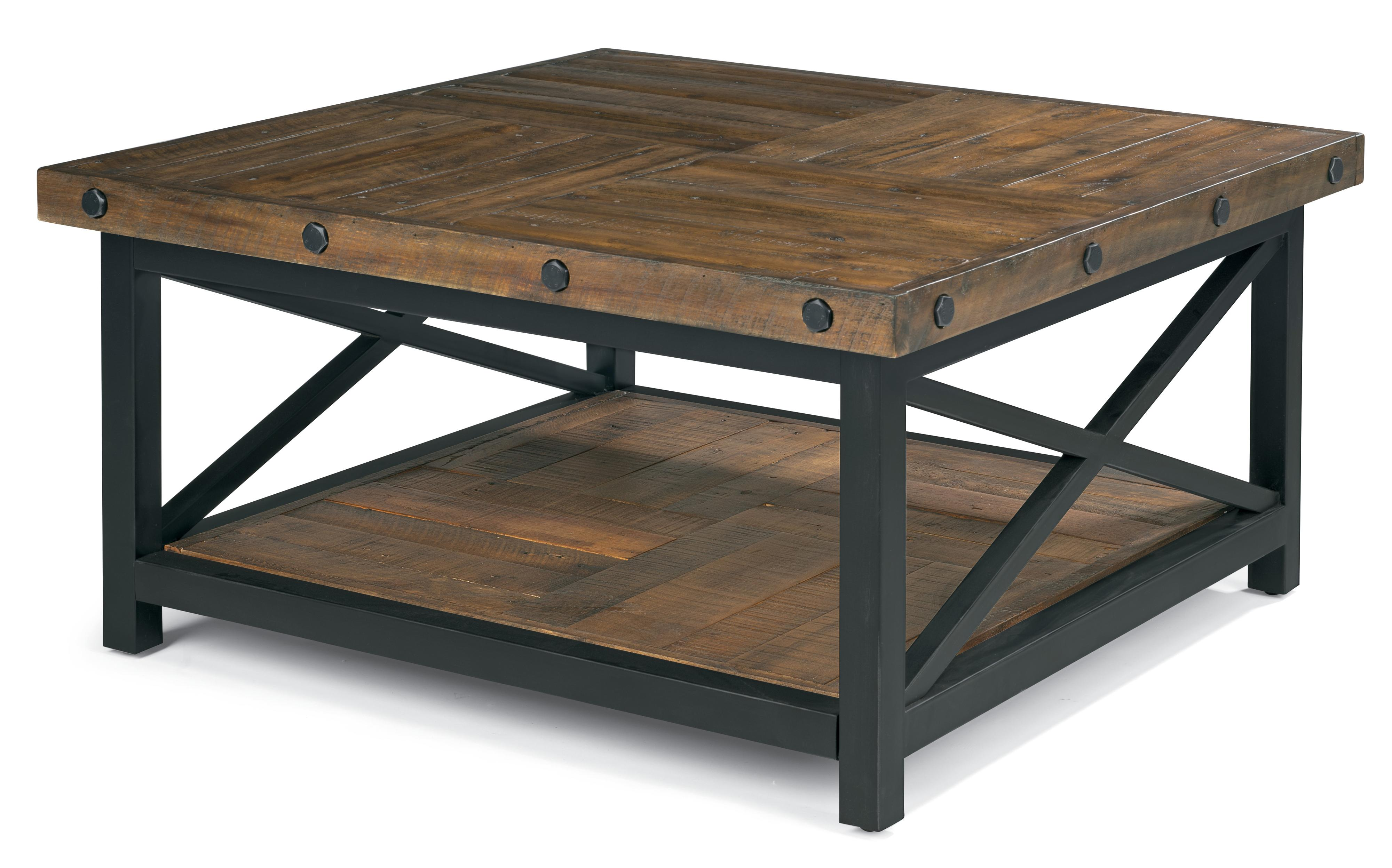 Flexsteel Carpenter Square Cocktail Table With Metal Base And Wood Plank Top Steger 39 S