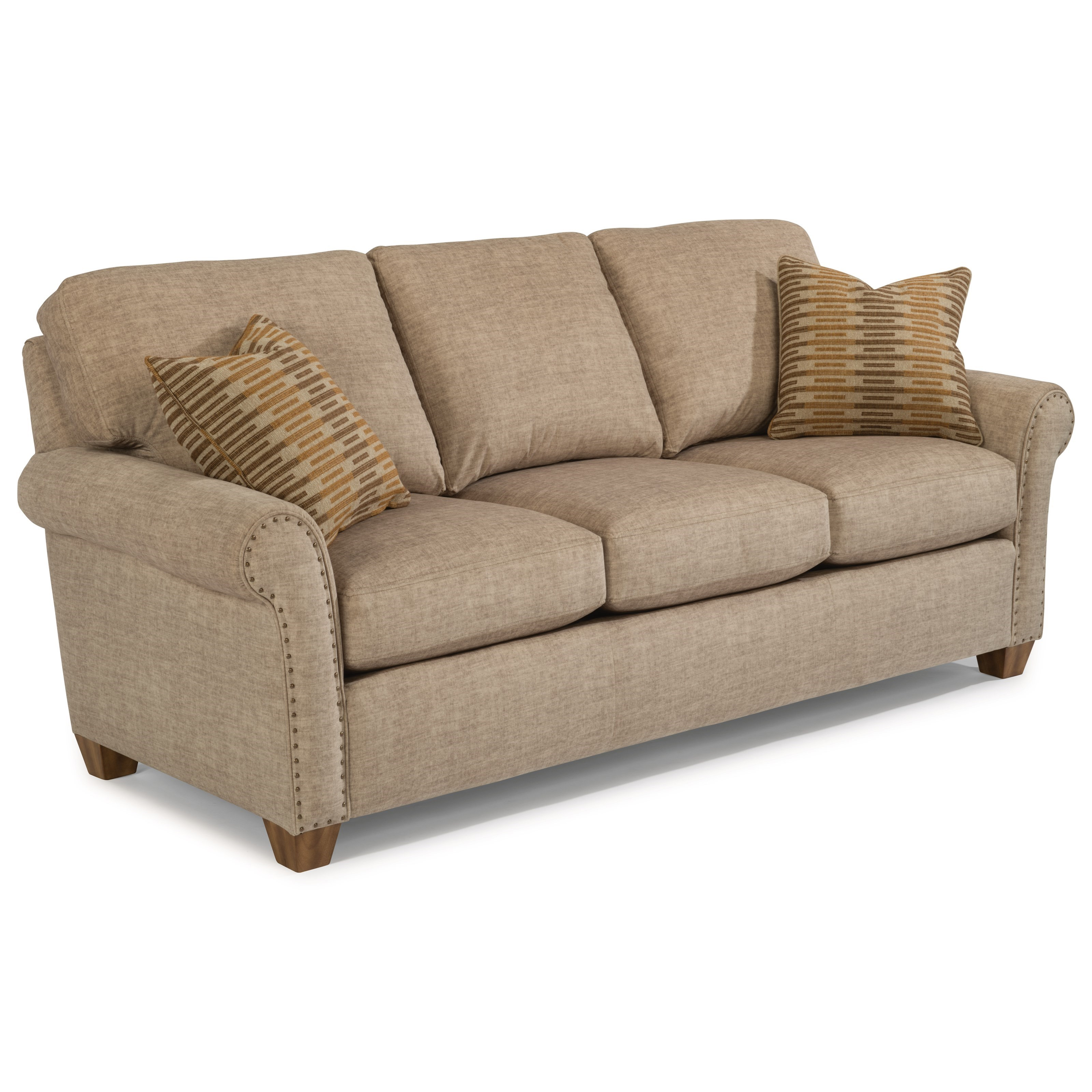 Flexsteel christine 5110 31 rolled arm sofa with nailhead for Sofa with studs