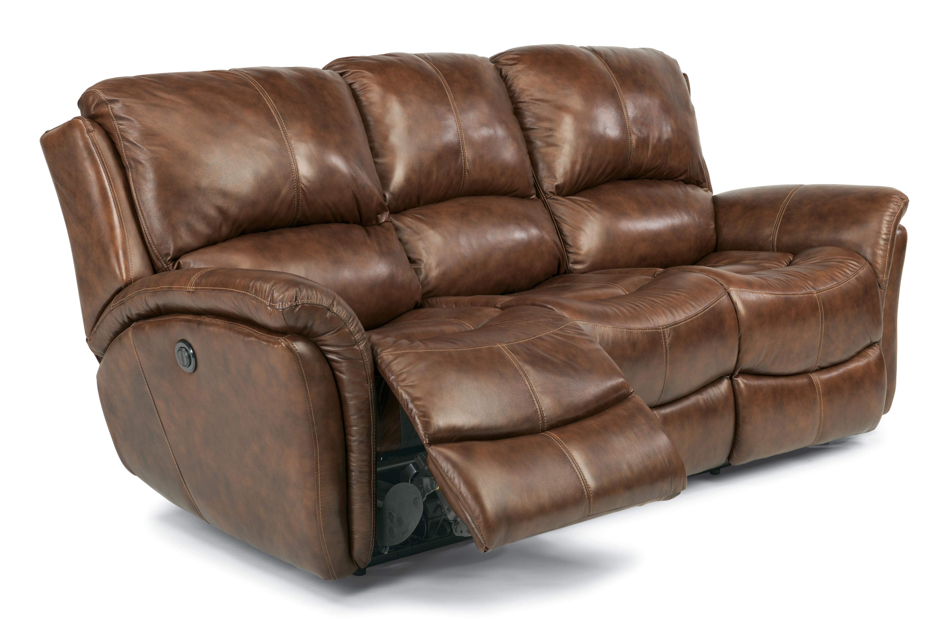 Flexsteel latitudes dominique casual reclining sofa with for Casual couch