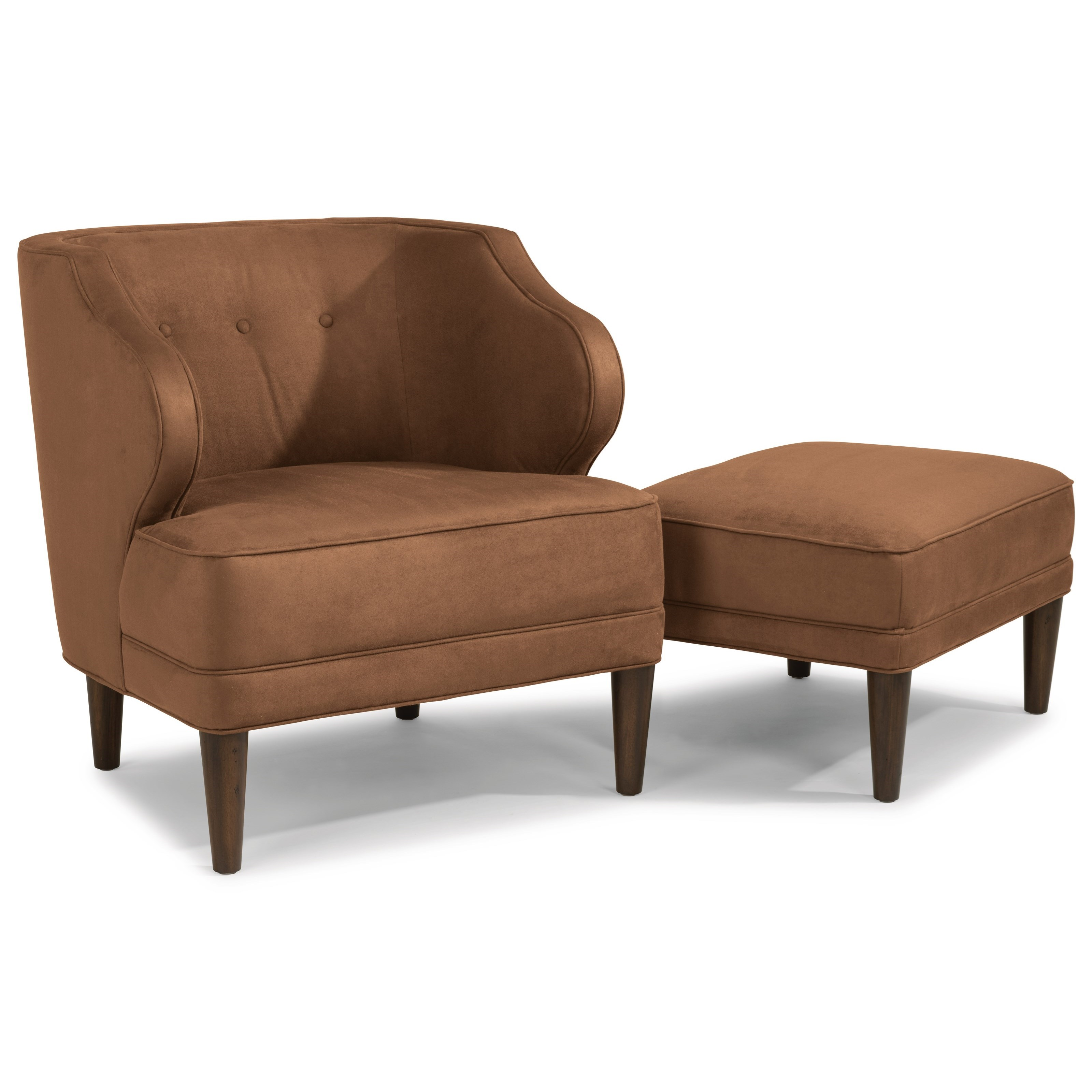 Flexsteel Etta Mid Century Modern Wing Chair With Button