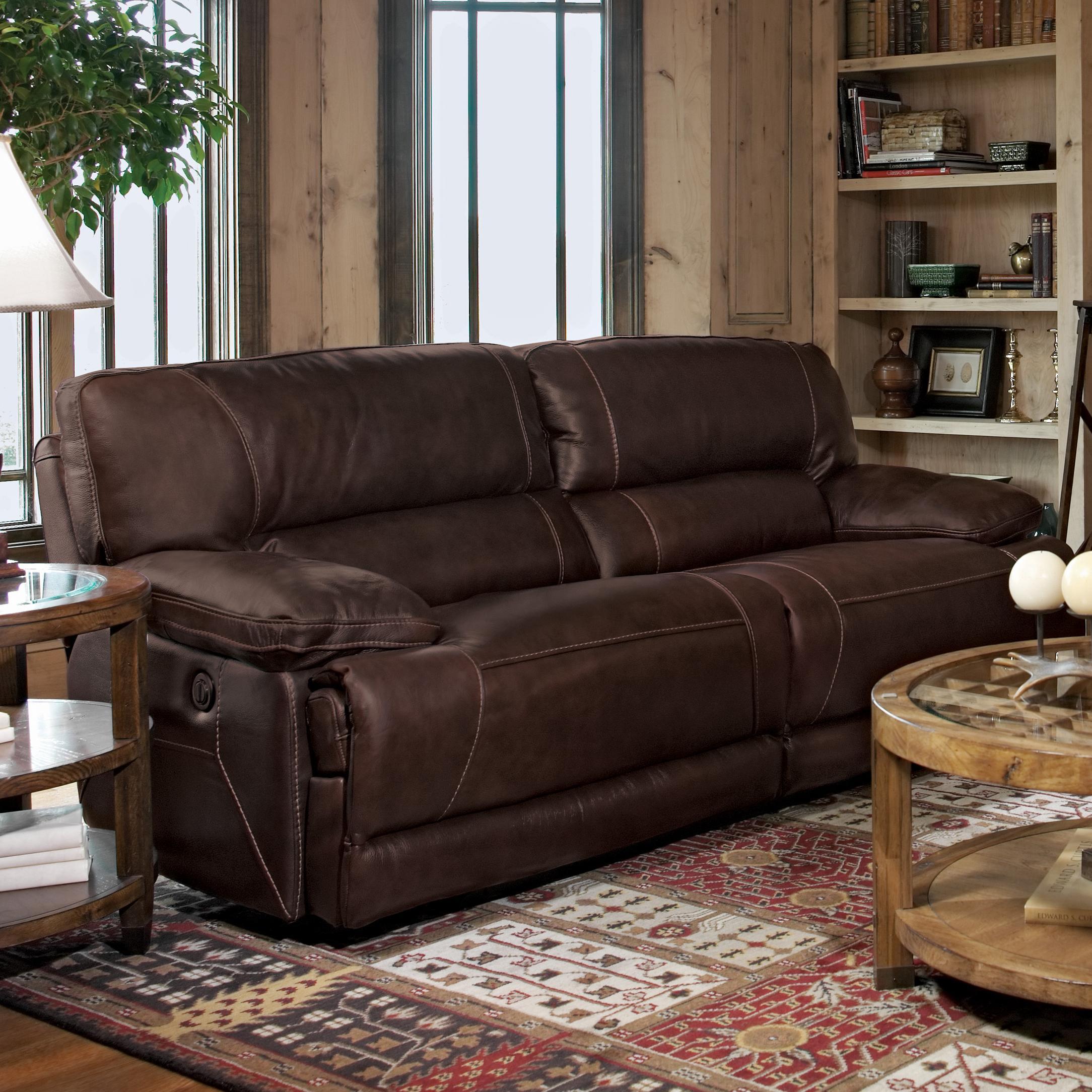 Flexsteel fleet street double power reclining sofa wayside furniture reclining sofas - Sofa reclinable ...