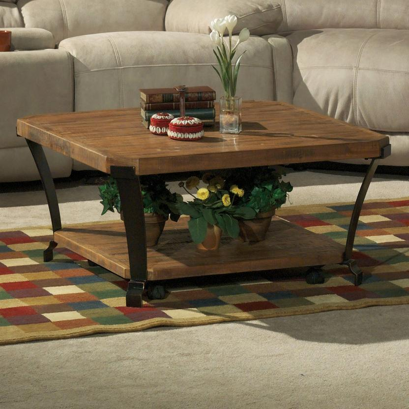 Flexsteel Kenwood Square Cocktail Table With Casters Fashion Furniture Cocktail Or Coffee Table