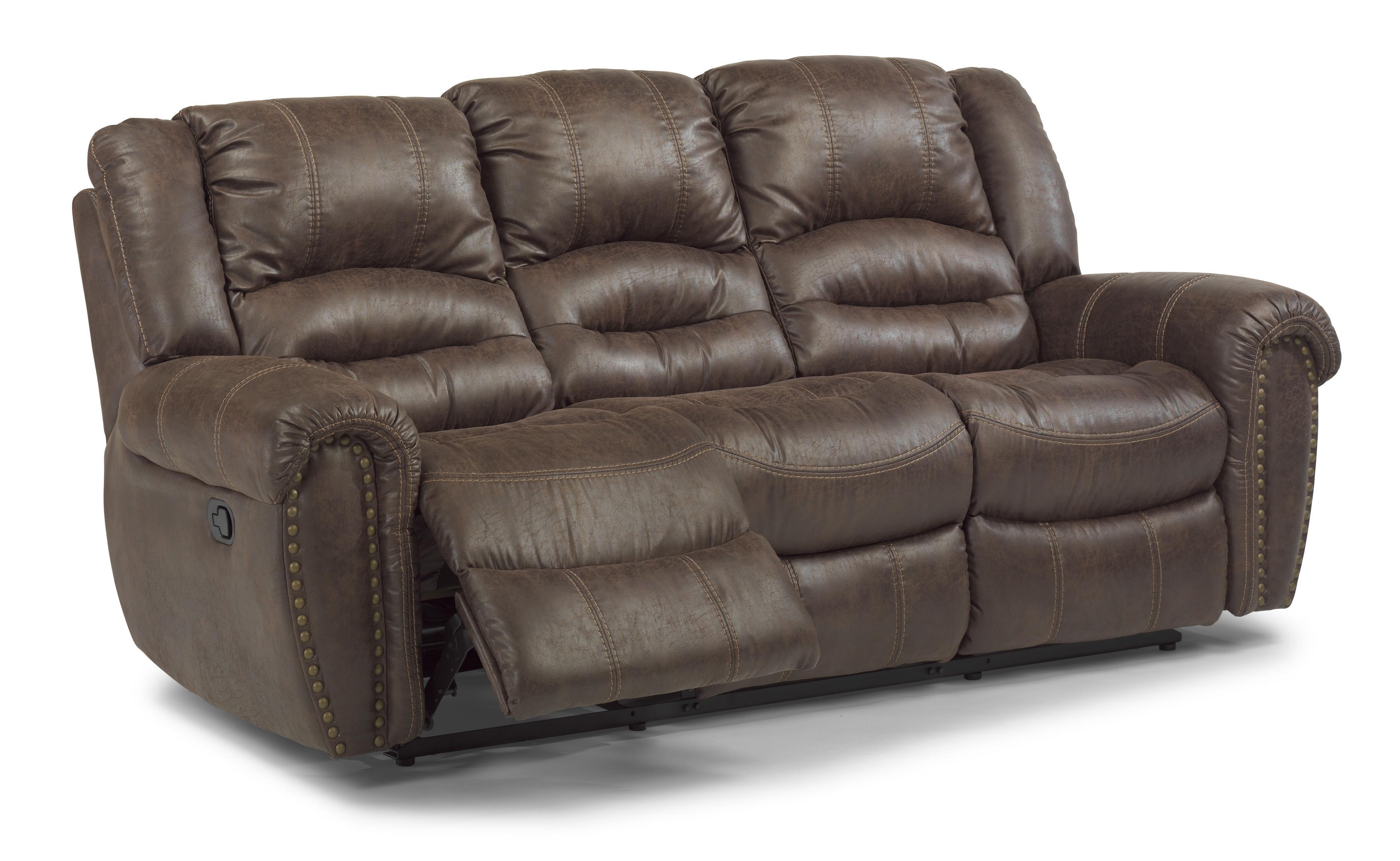 Flexsteel latitudes downtown transitional power double reclining sofa wayside furniture - Sofa reclinable ...