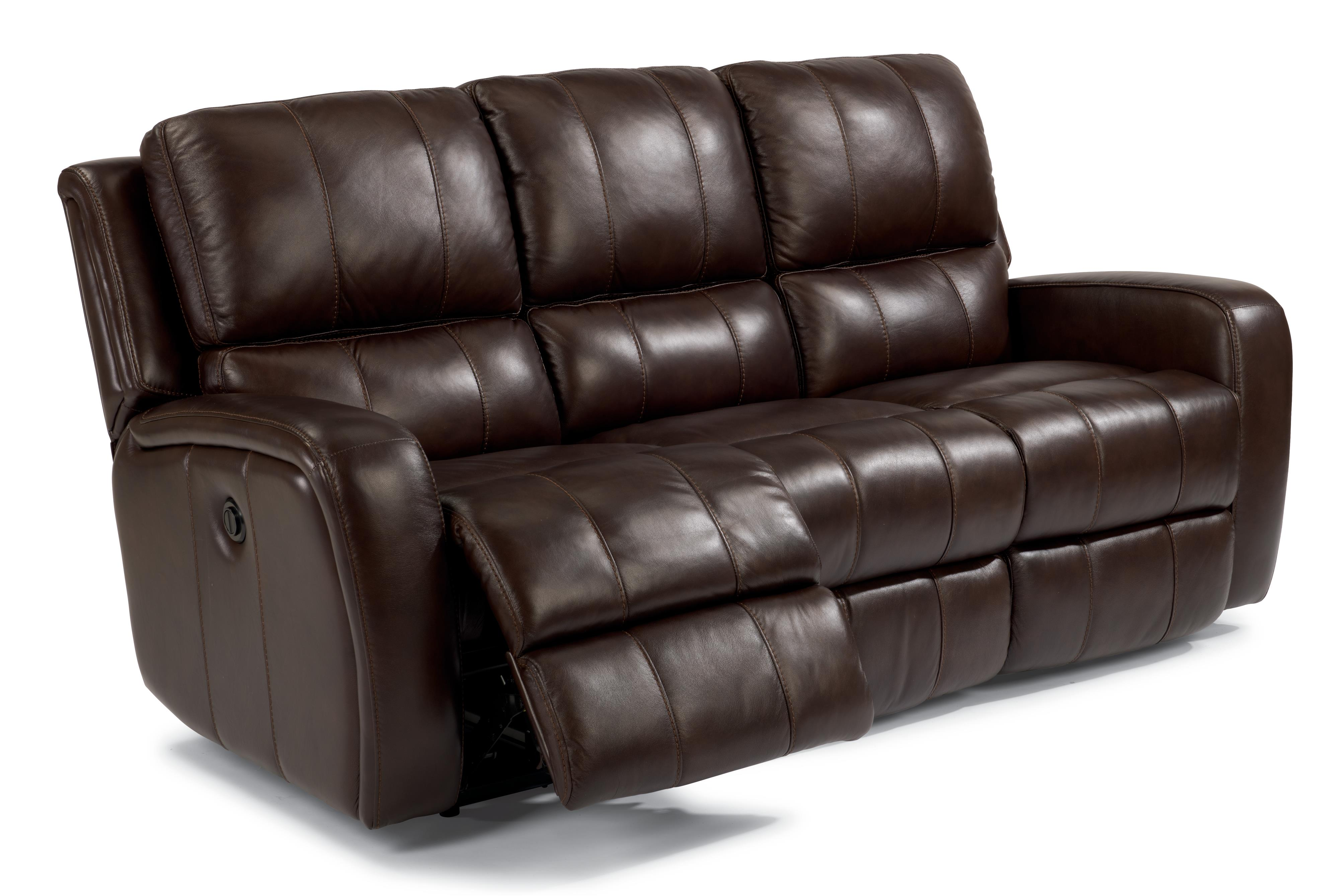 Flexsteel latitudes hammond casual double reclining sofa for Sectional sofa with double recliner