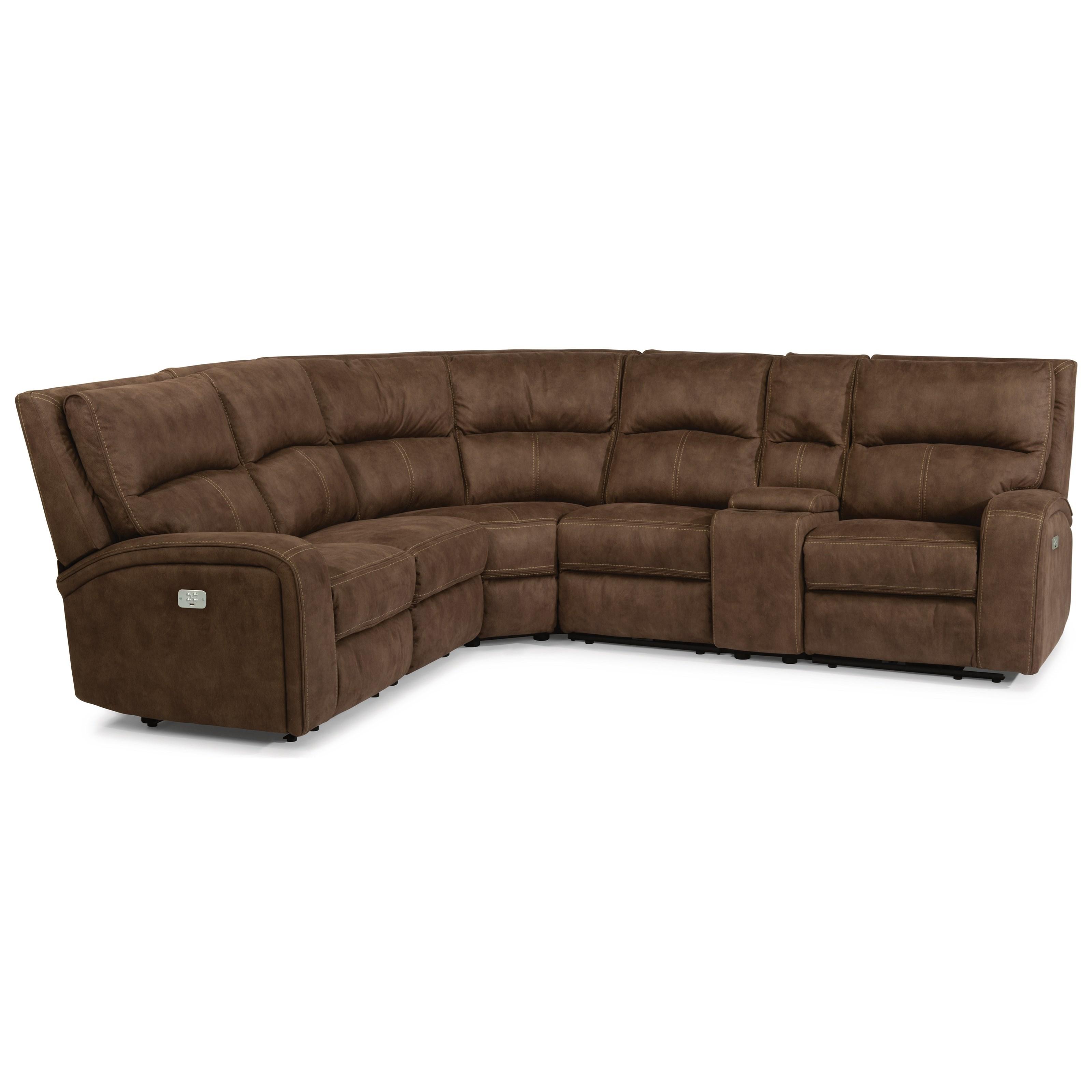 Flexsteel latitudes rhapsody contemporary power reclining for Sectional sofa seats 6