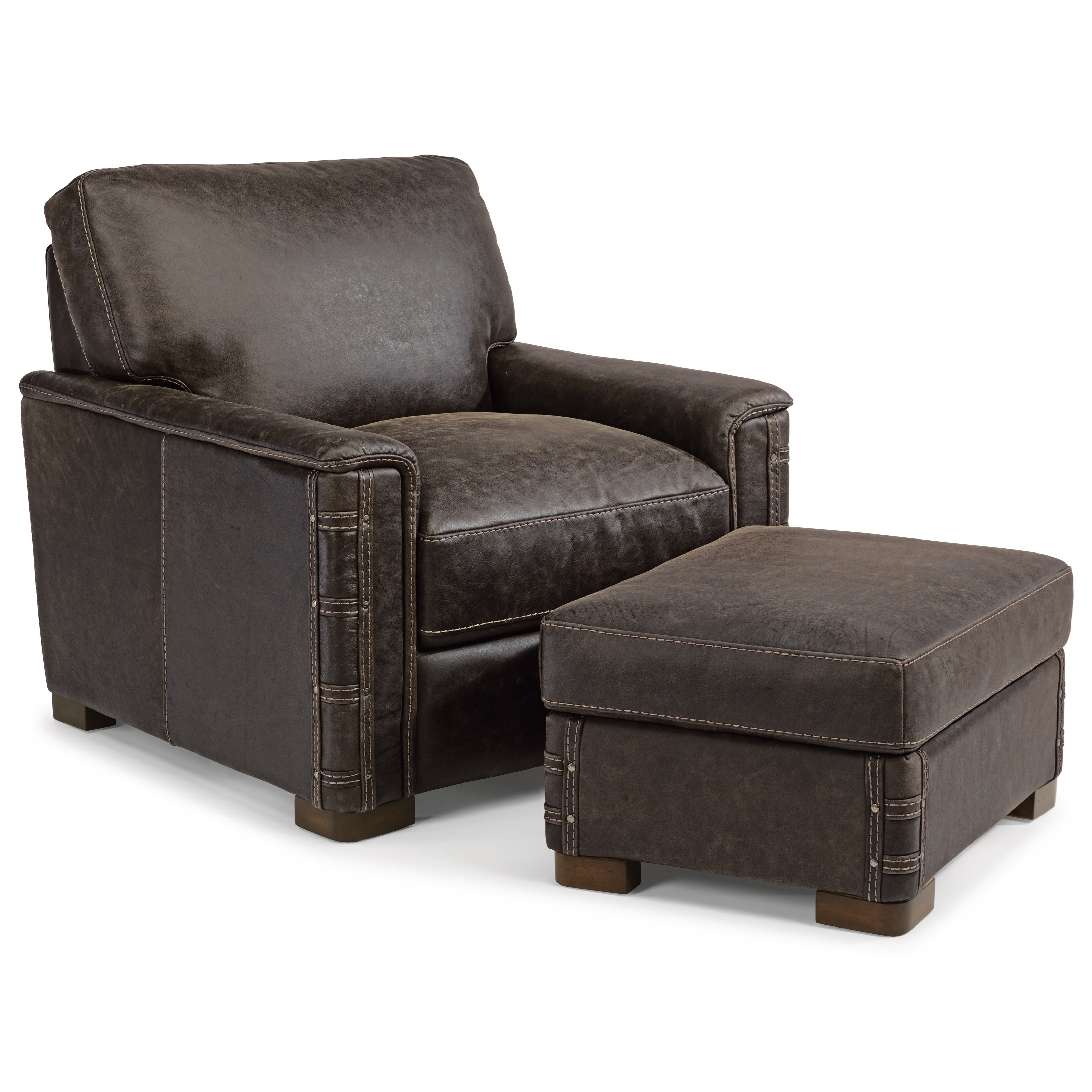 Flexsteel latitudes lomax rustic leather chair and for Best chair and ottoman