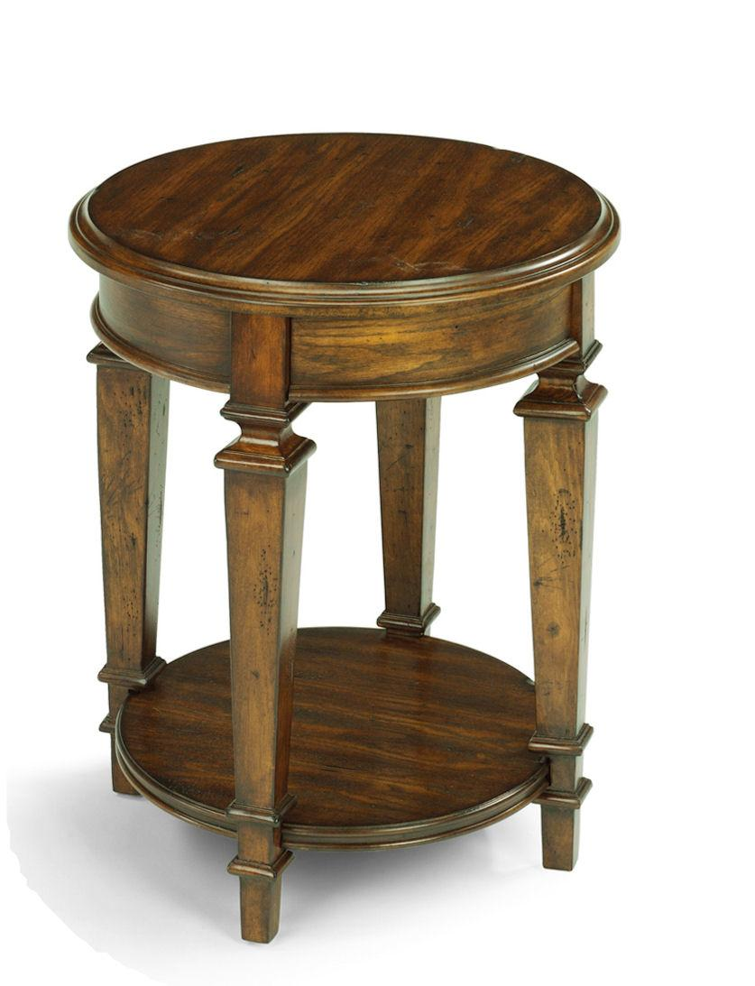 Flexsteel oakbrook small traditional round tall standing for Small tall end table