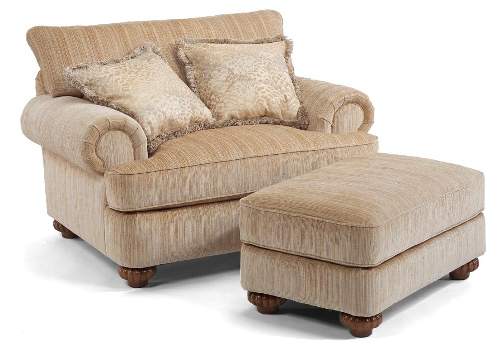 Flexsteel Patterson Traditional Chair & Ottoman Miskelly
