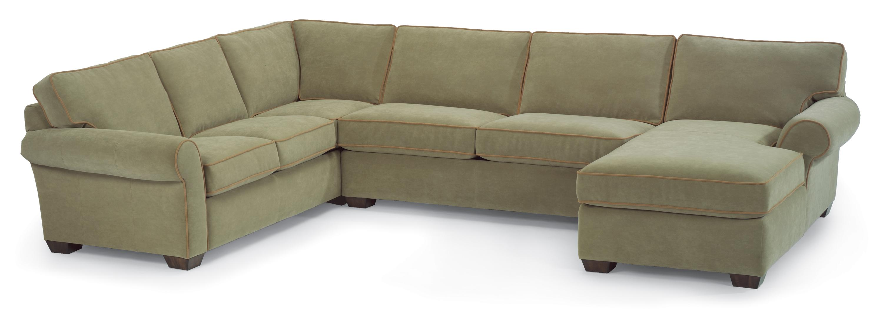 Flexsteel vail stationary sectional sofa with right side for Sectional sofa with right side chaise