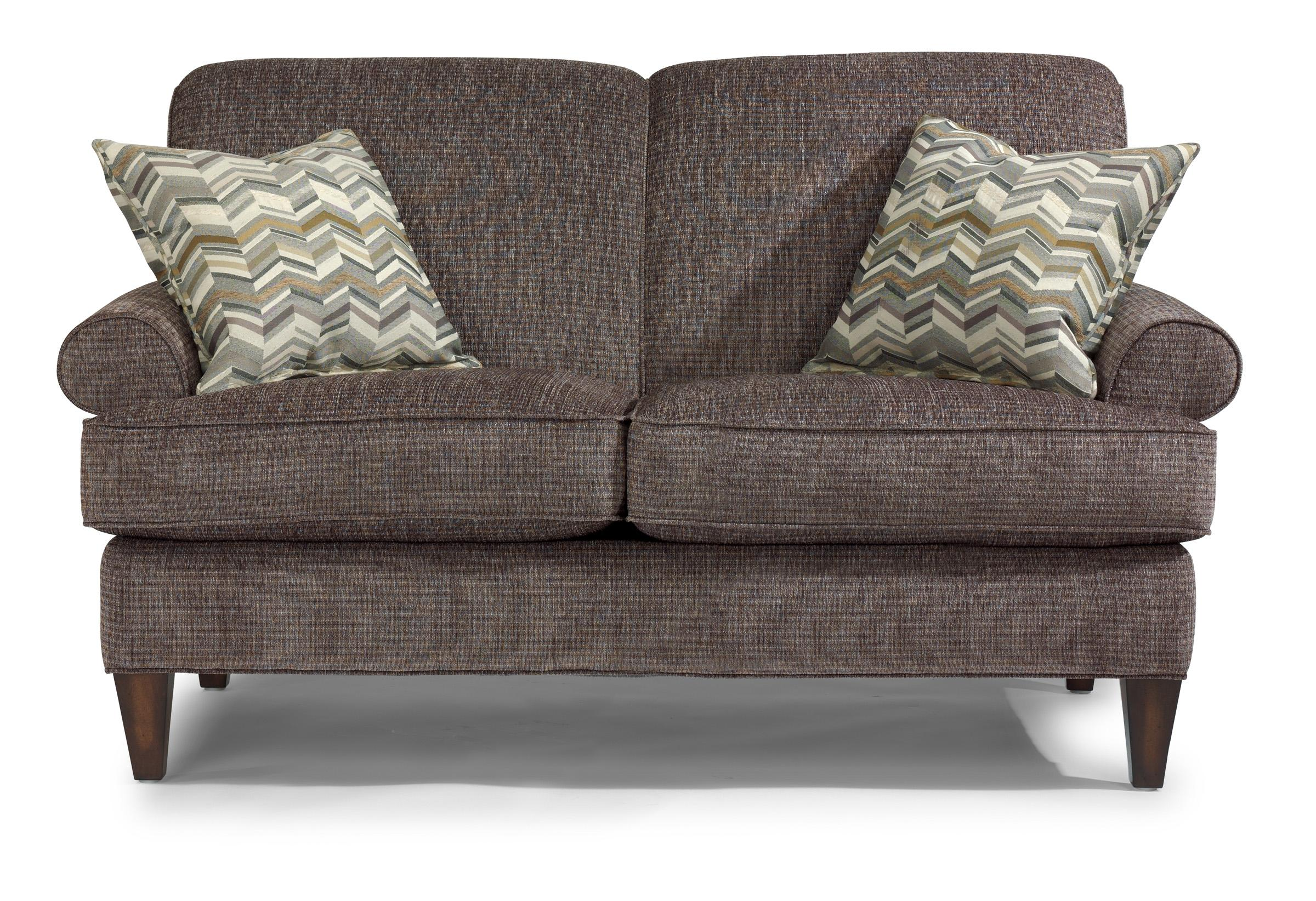 Flexsteel venture transitional loveseat with rolled arms for Wayside furniture