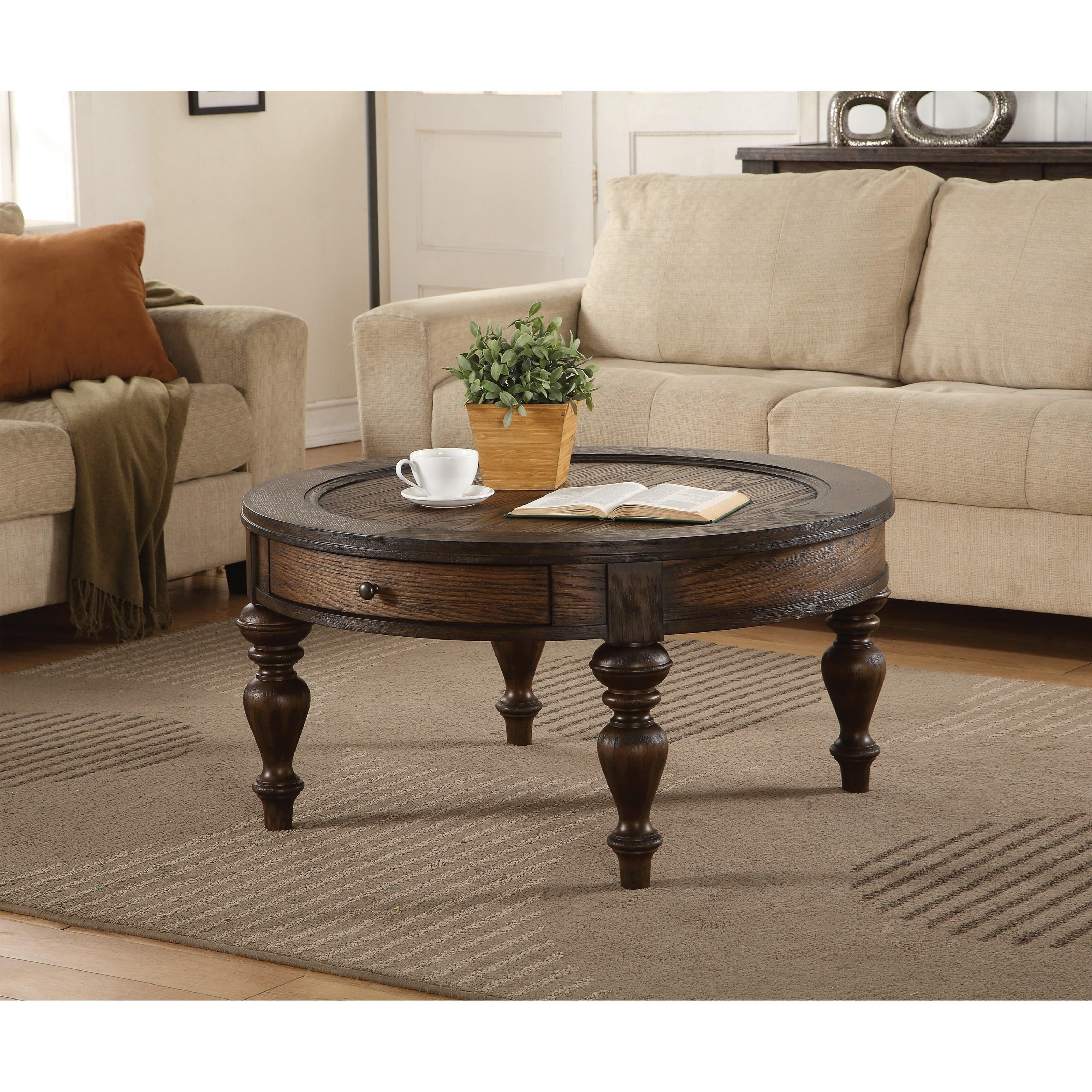 flexsteel wynwood collection bordeaux traditional round cocktail table with drawer mueller. Black Bedroom Furniture Sets. Home Design Ideas