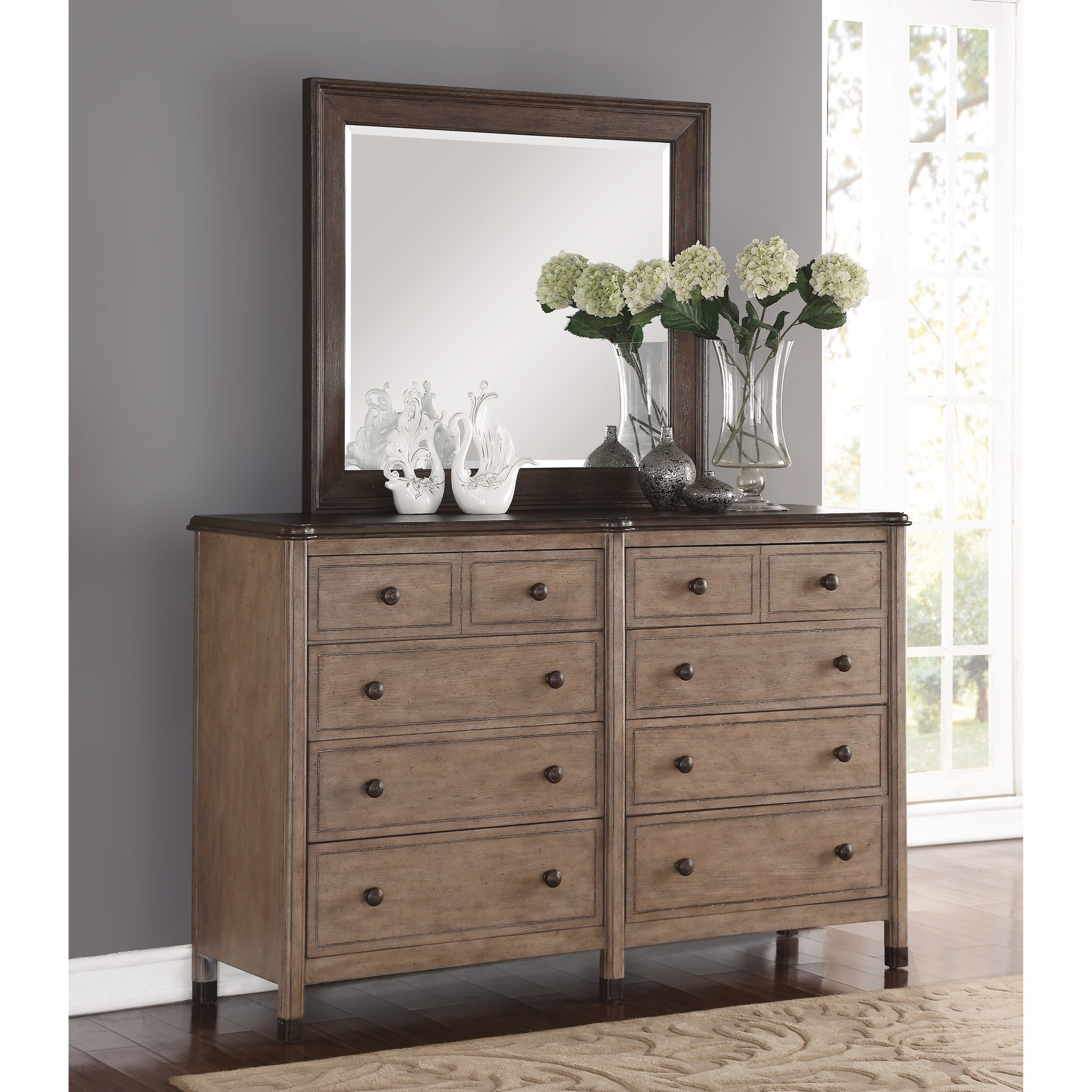 Flexsteel Wynwood Collection Carmen Transitional Two Tone Dresser And Mirror With False Bottom