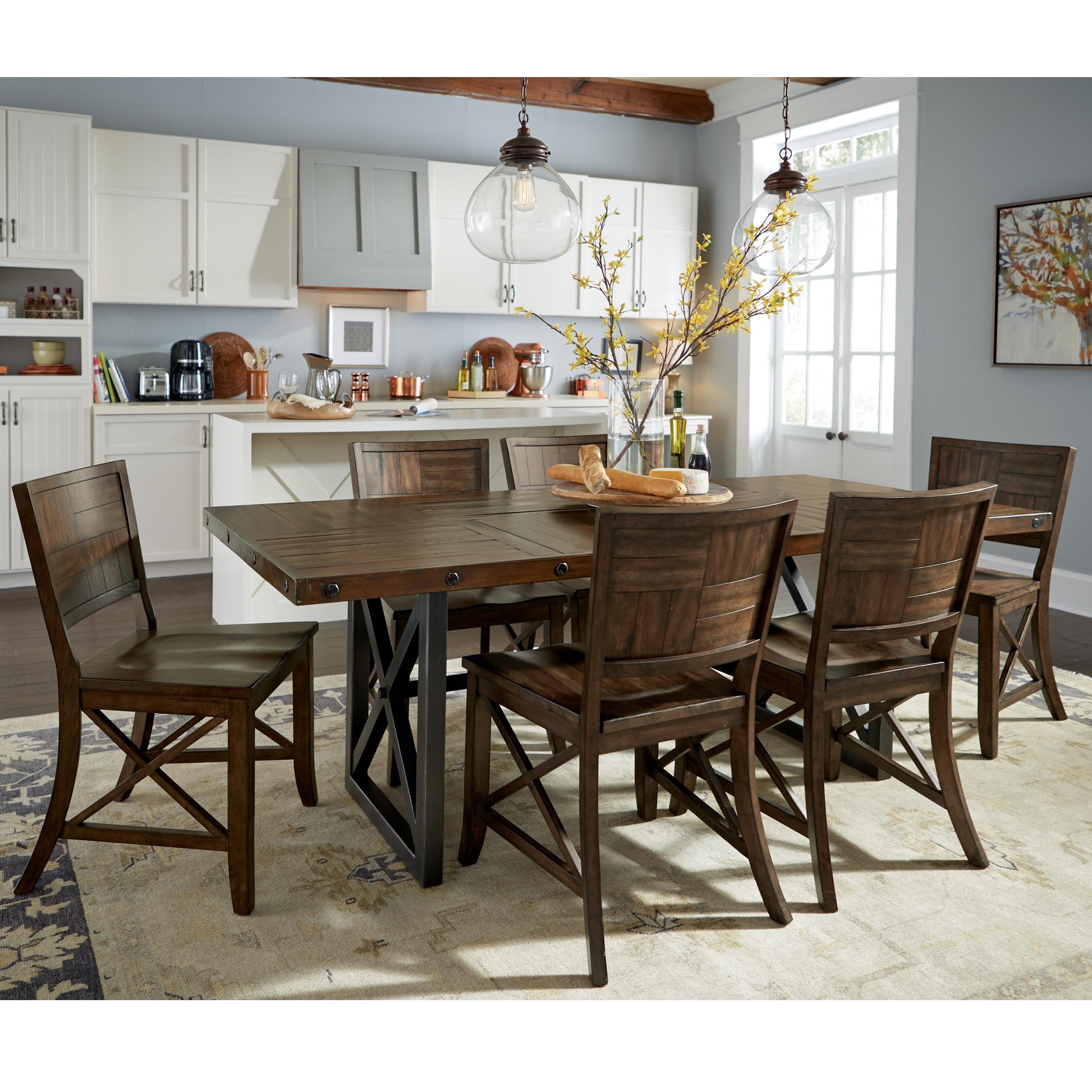 flexsteel wynwood collection carpenter 7 piece dining set with trestle table olinde 39 s. Black Bedroom Furniture Sets. Home Design Ideas