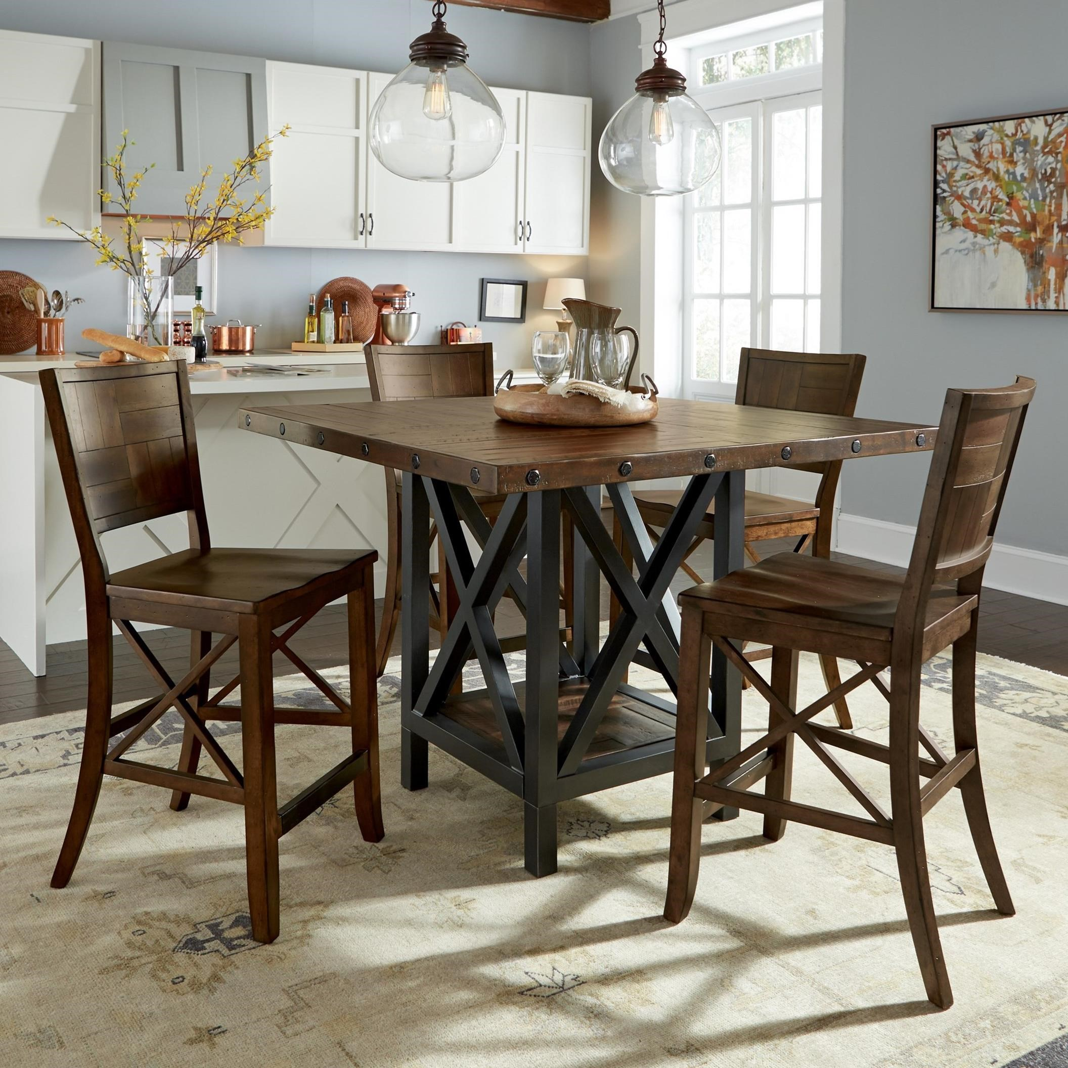 Flexsteel wynwood collection carpenter 5 piece counter for Tall breakfast table set