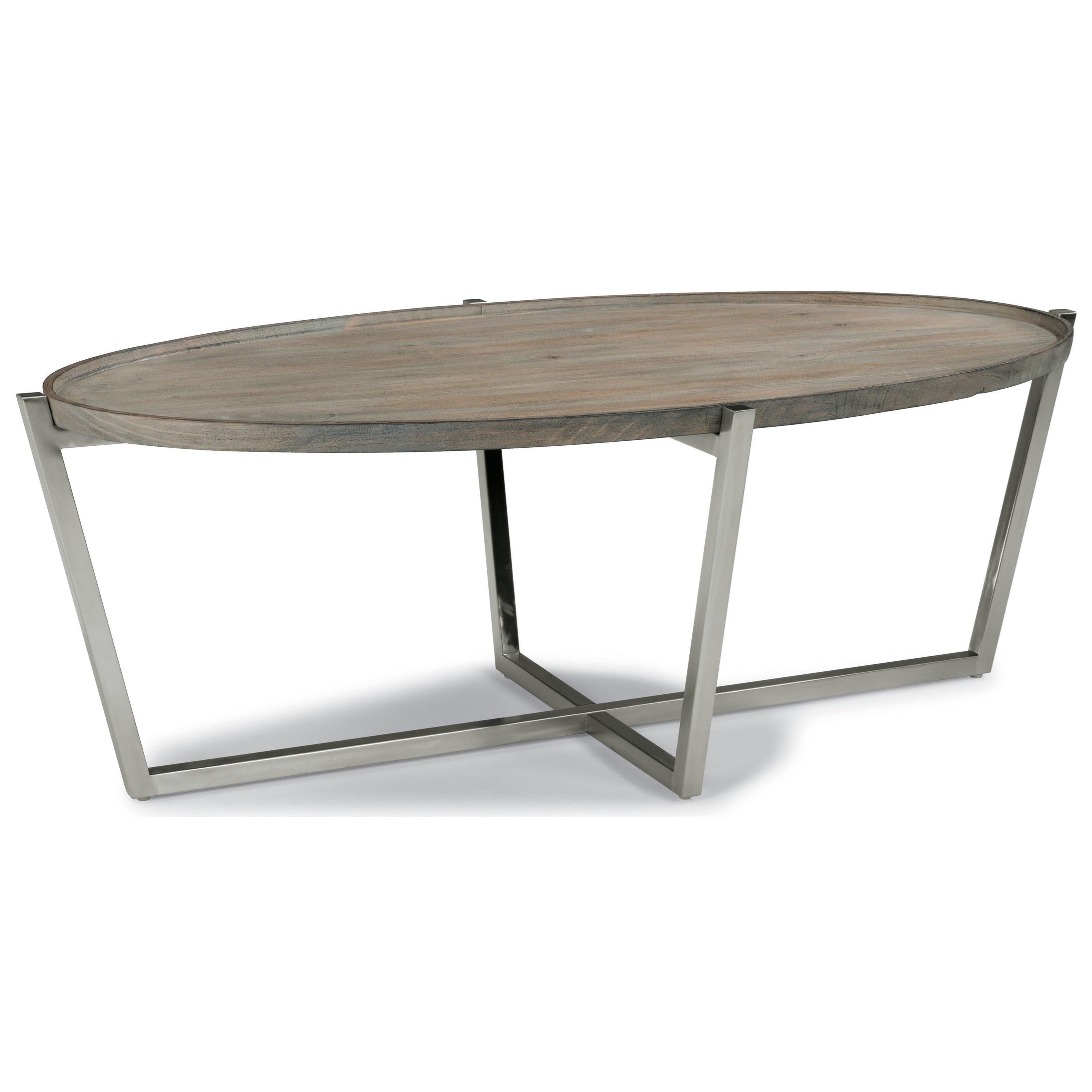Flexsteel Wynwood Collection Platform Contemporary Oval Cocktail Table With Stainless Steel Base