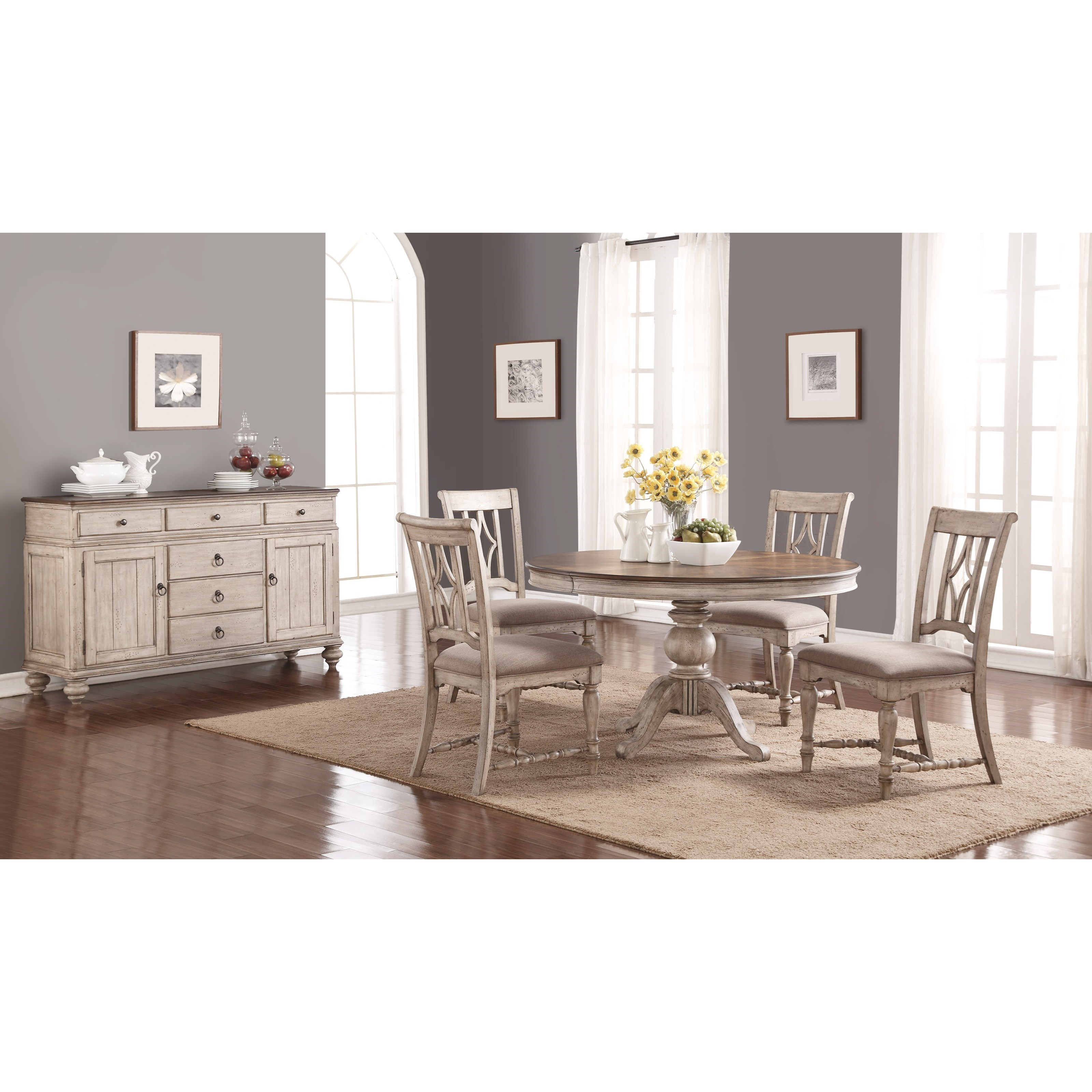 Flexsteel Wynwood Collection Plymouth Cottage Dining Room Group With Pedestal Table Sheely 39 S