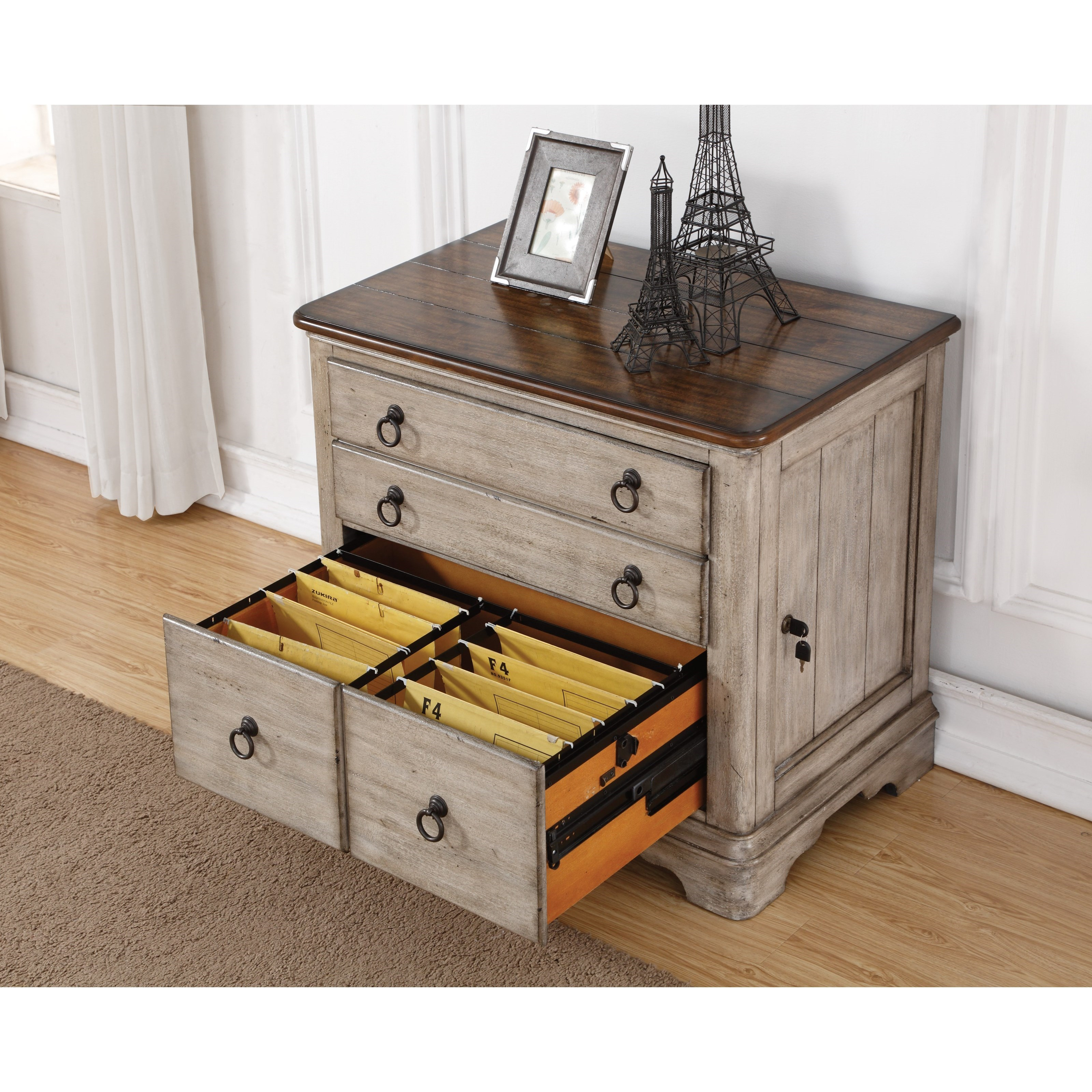 Flexsteel Wynwood Collection Plymouth Cottage Lateral File Cabinet With Two Locking File Drawers
