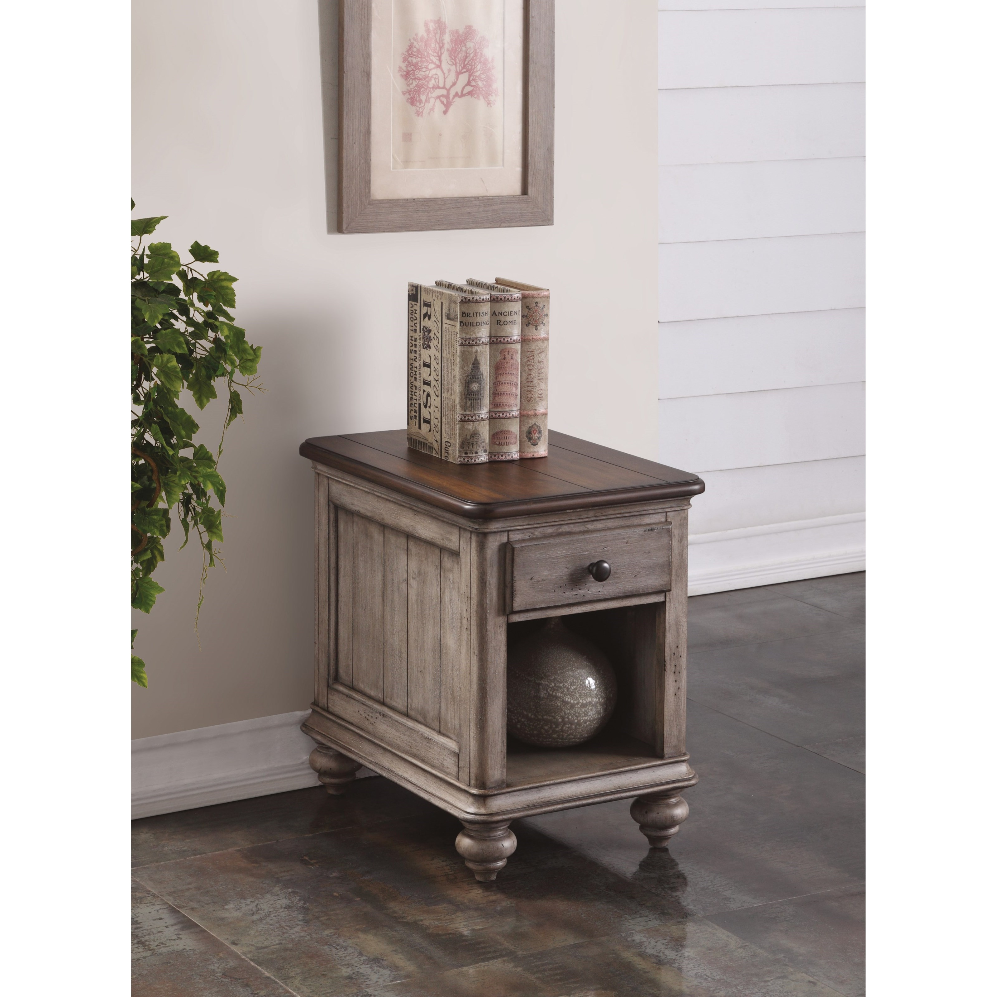 Flexsteel Wynwood Collection Plymouth Cottage Chairside Table With Open Storage Compartment
