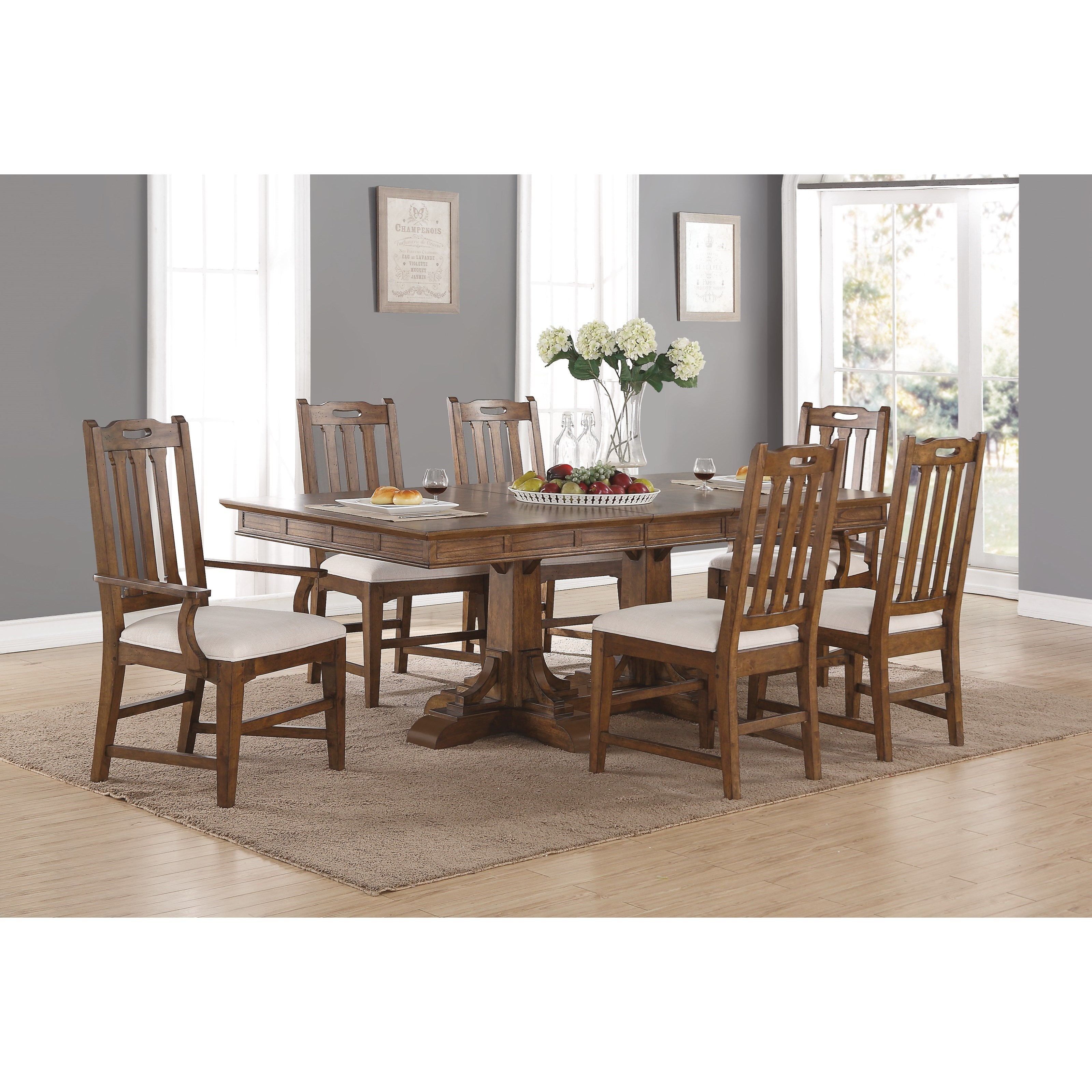 Flexsteel wynwood collection sonora mission formal dining for Formal dining table and chairs