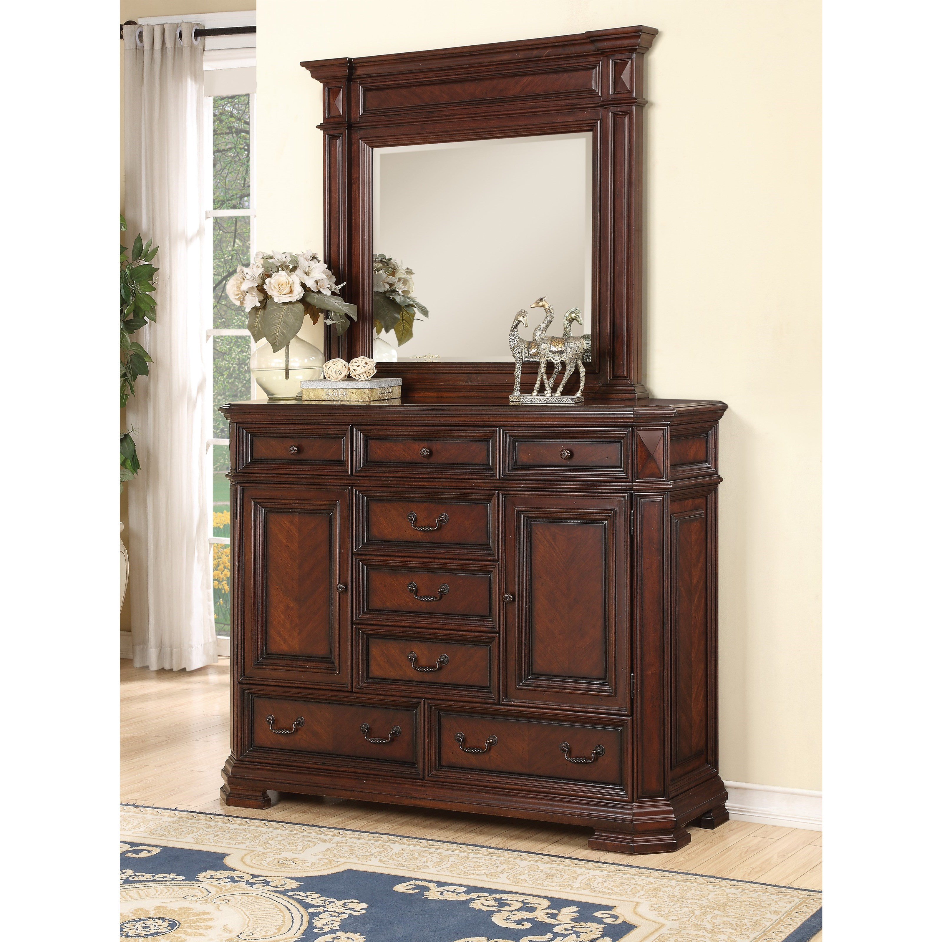 Wynwood A Flexsteel Company Westchester Traditional Chest With Doors And Mirror Combo With 8