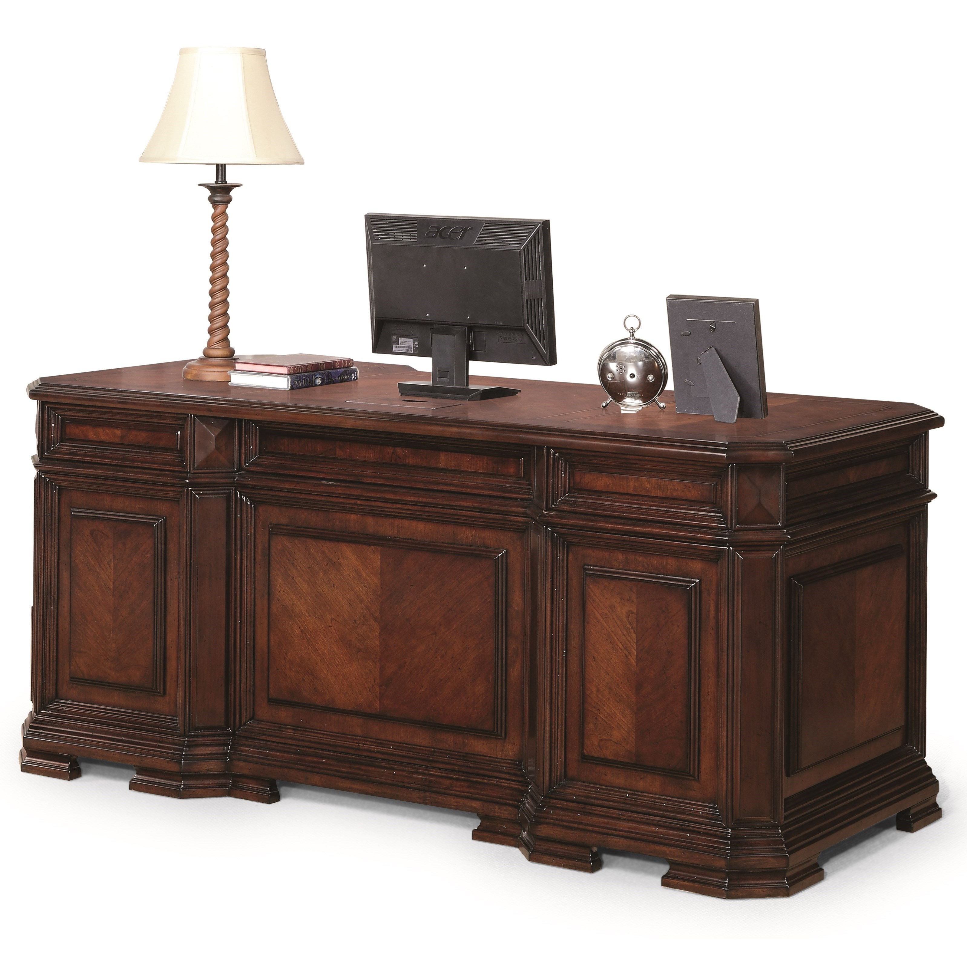 Flexsteel Wynwood Collection Westchester Traditional Executive Desk With Drop Front Keyboard