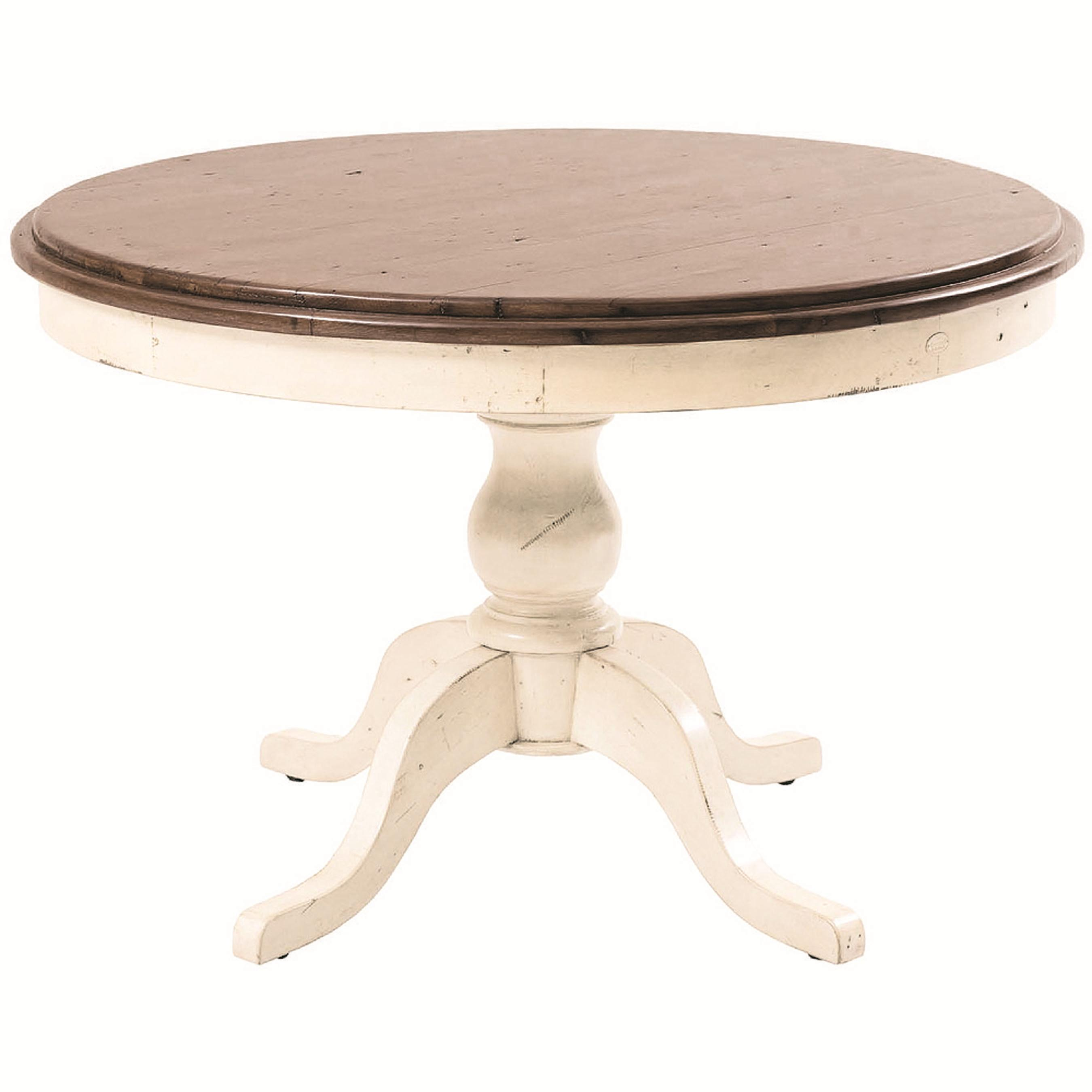 Four hands cornwall single pedestal round dining table for Round dining table for 4