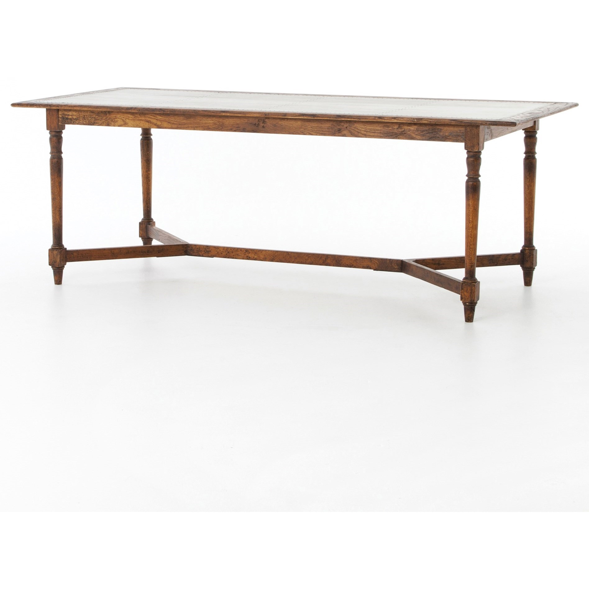 Four hands hughes sylvan dining table with trestle base for Dining table tj hughes