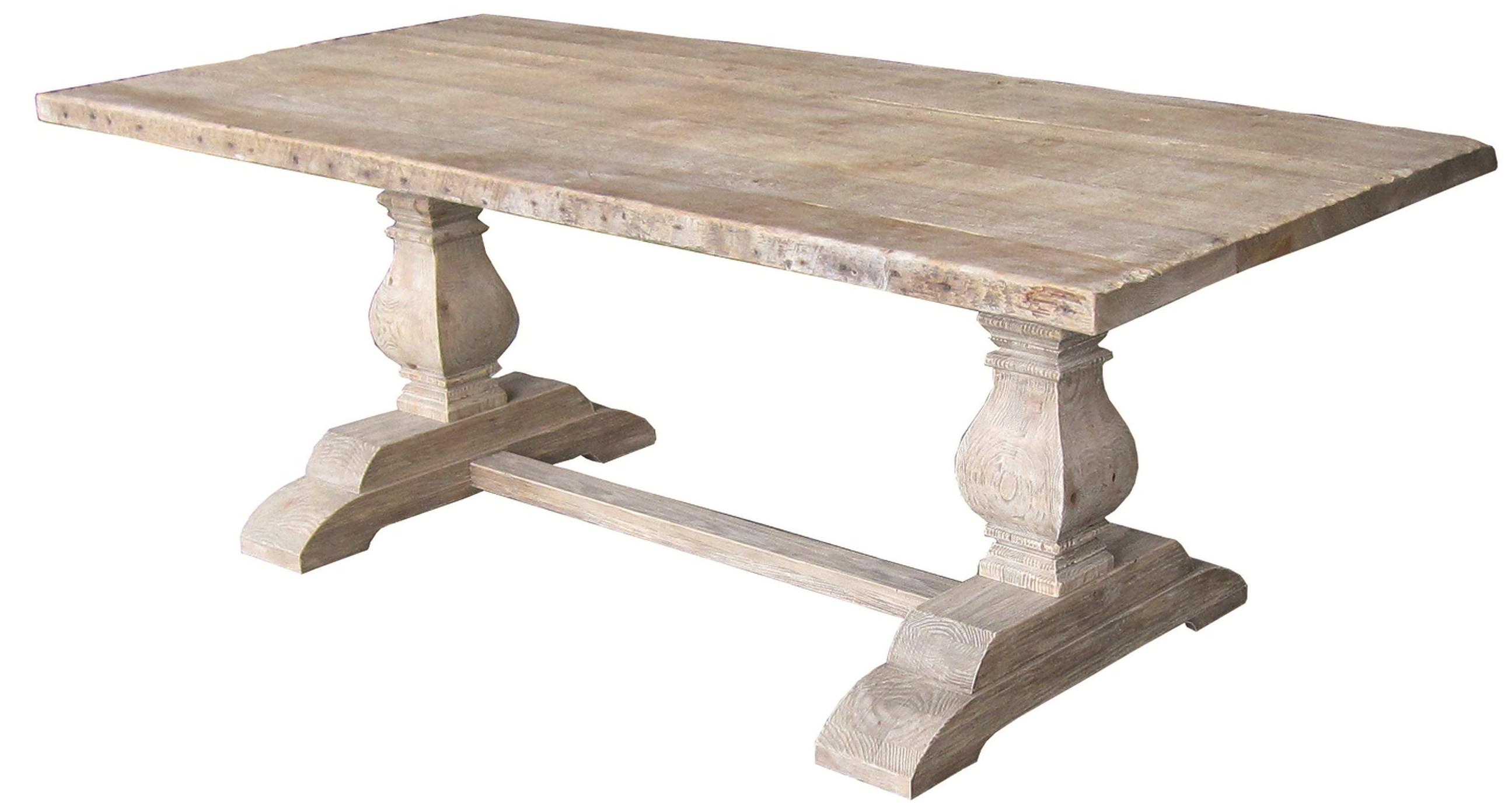 Four hands hughes rectangular dining table with double for Rectangular pedestal dining table