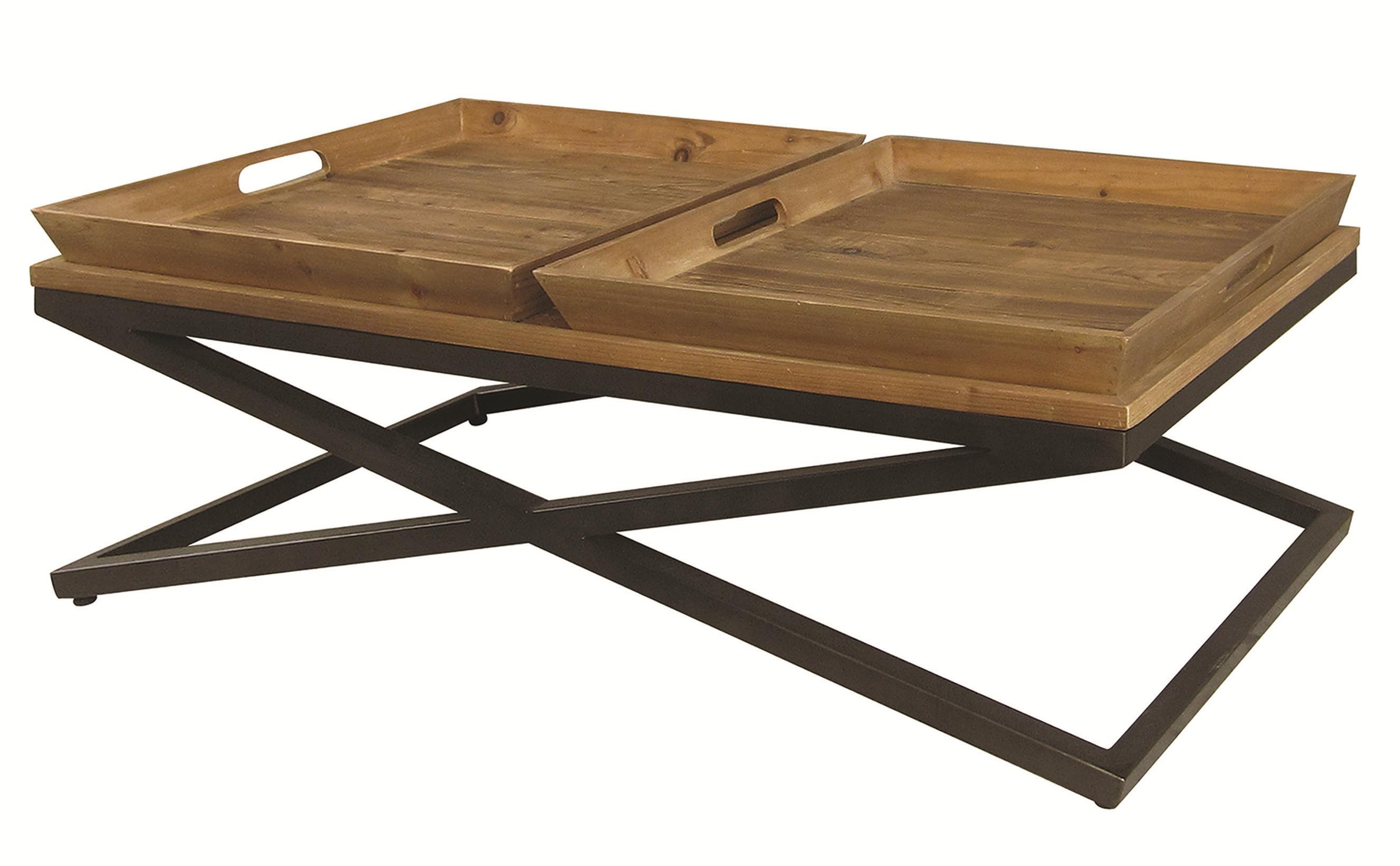 Four hands irondale jax wood metal coffee table w trays for Trays on coffee tables