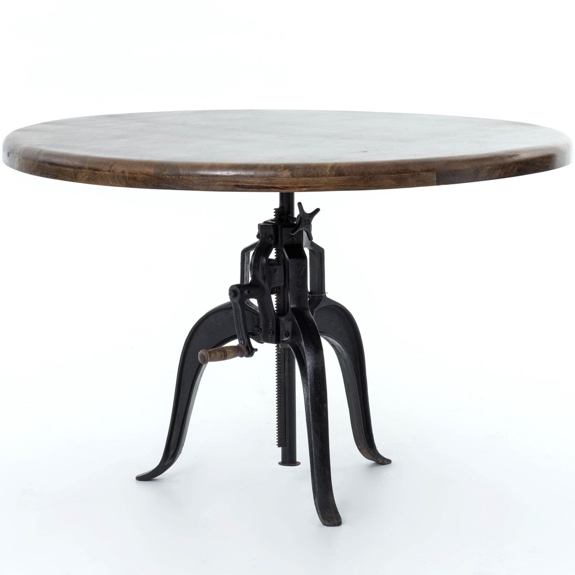 Four hands rockwell adjustable round dining table with for Round dining table for 4