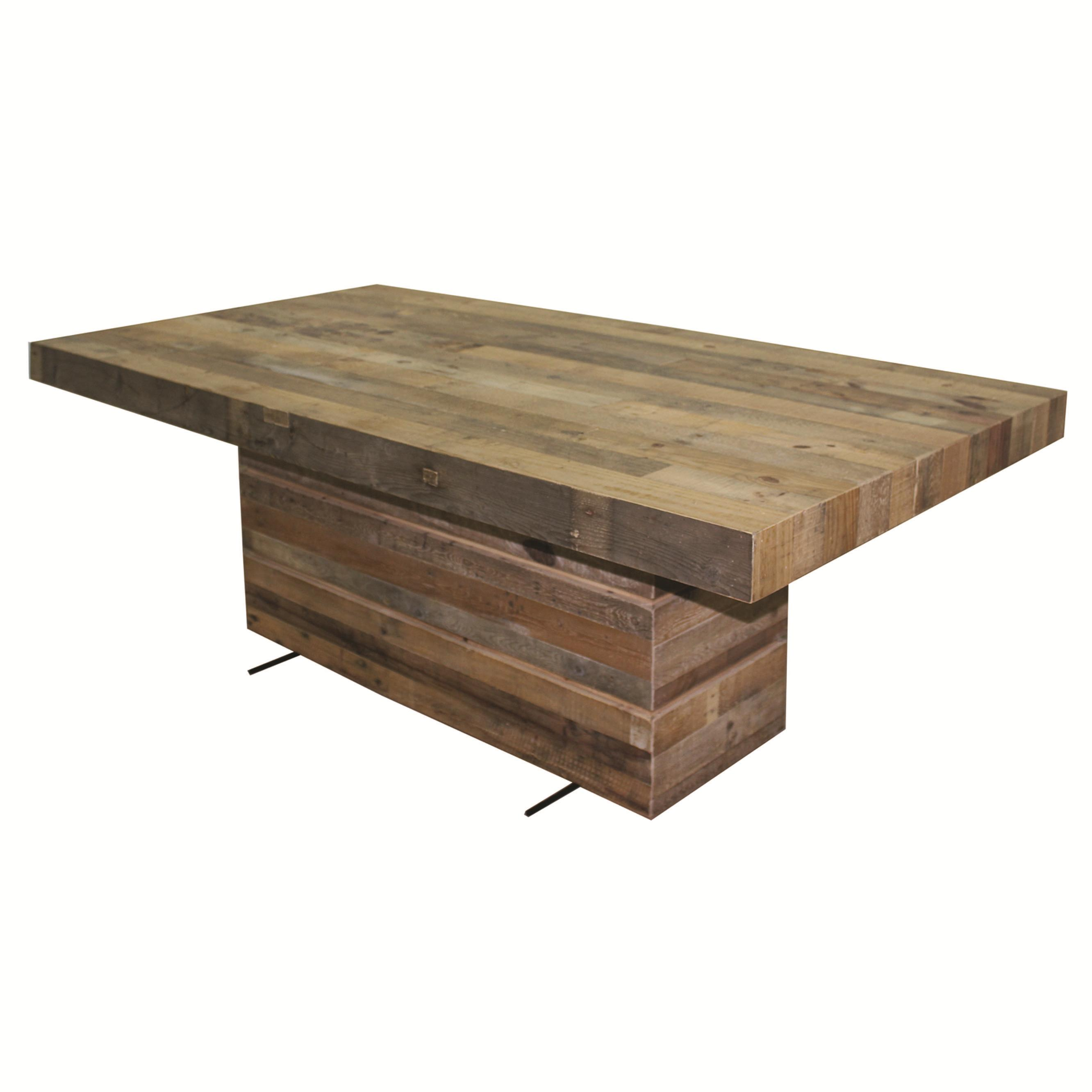 Four hands sierra tahoe dining table with rectangular for Rectangular pedestal dining table